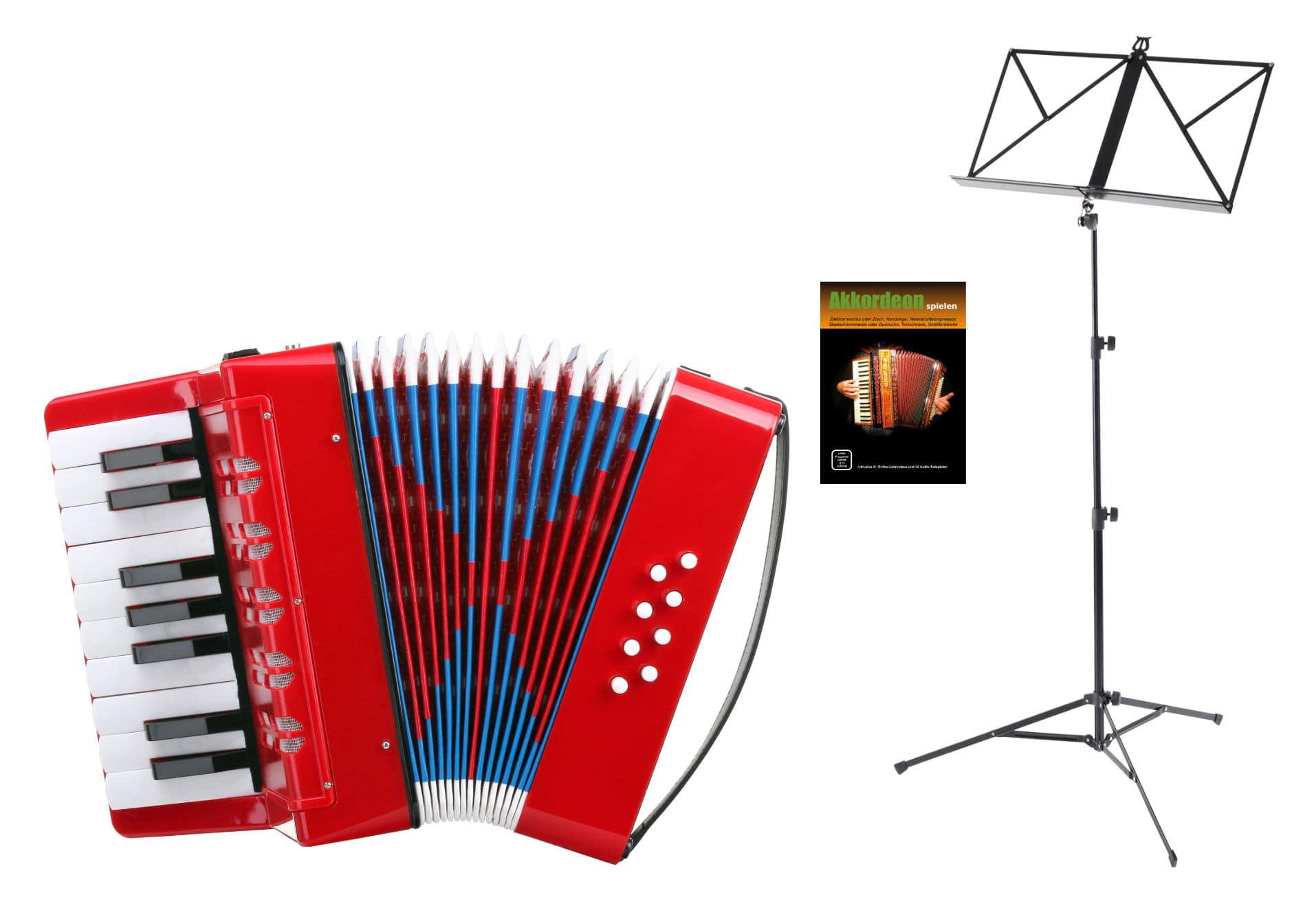 Akkordeons - Classic Cantabile Bambino Kinder Akkordeon Set, Rot, 8 Bässe - Onlineshop Musikhaus Kirstein