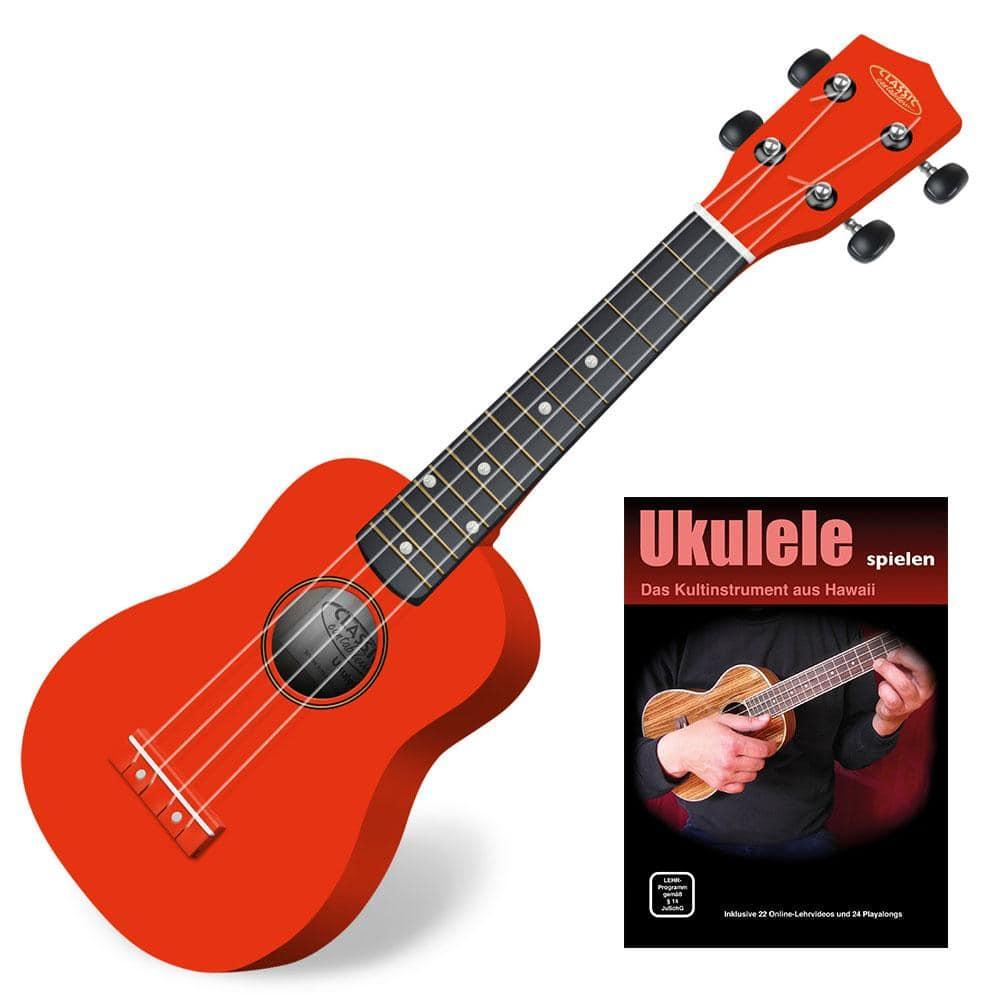 Classic Cantabile US 100 RD Sopran UkuleleRot SET inkl. Lernheft CD