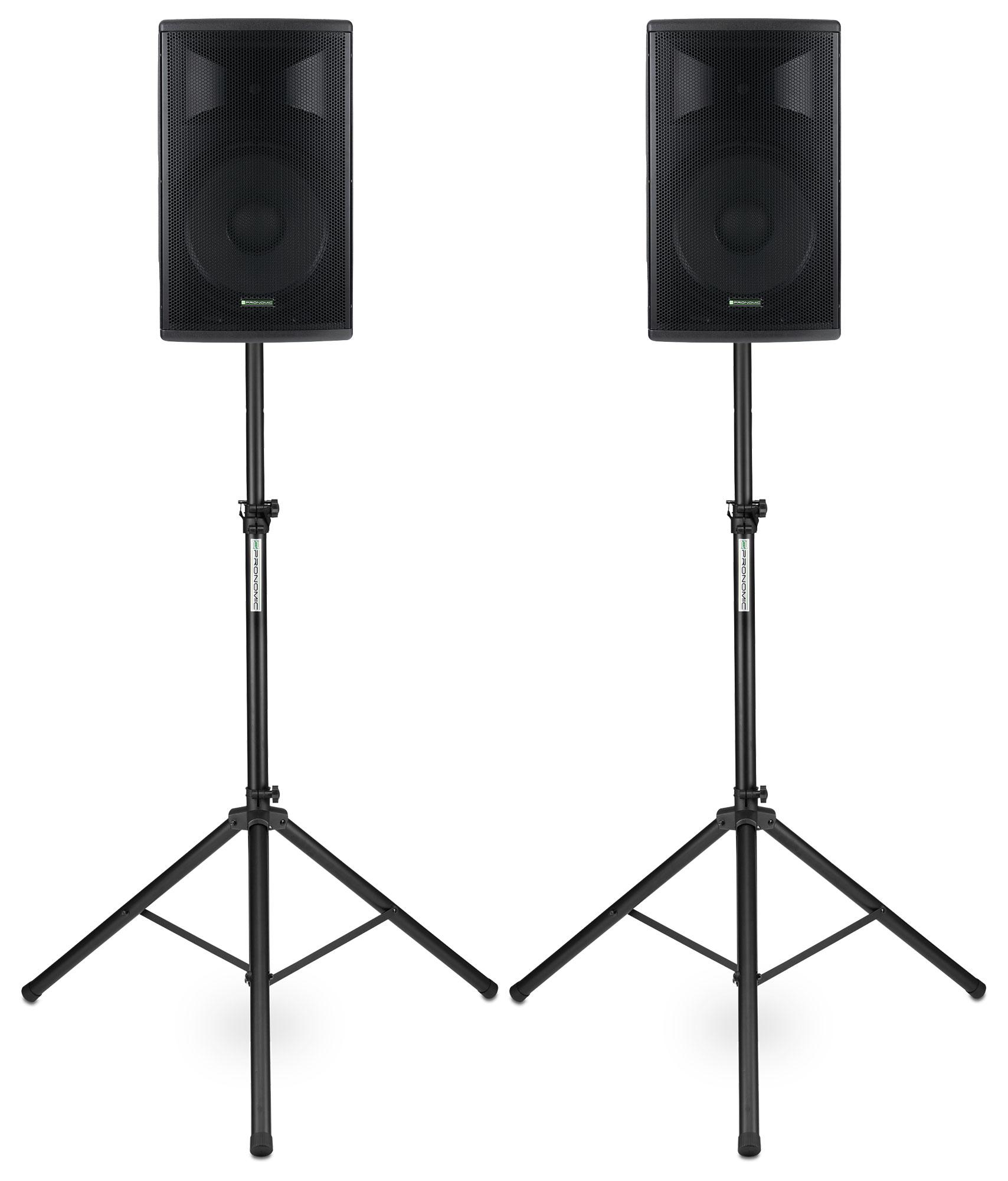 Paboxen - Pronomic E 212 MA 12 Aktivbox 500 Watt Stativ Set - Onlineshop Musikhaus Kirstein