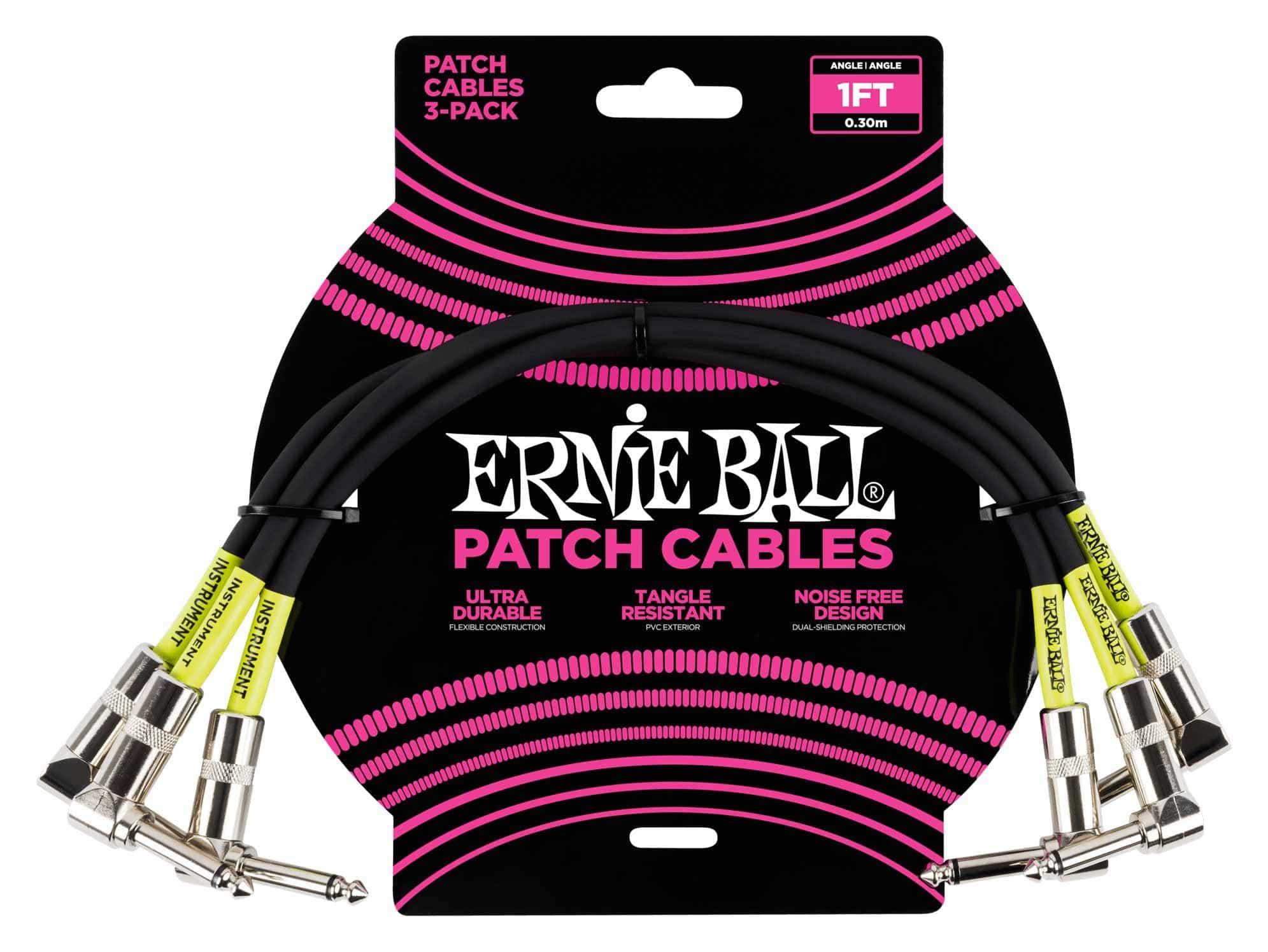 Kabelmulticores - Ernie Ball 6075 Patchkabel 30 cm, 3er Pack Schwarz - Onlineshop Musikhaus Kirstein