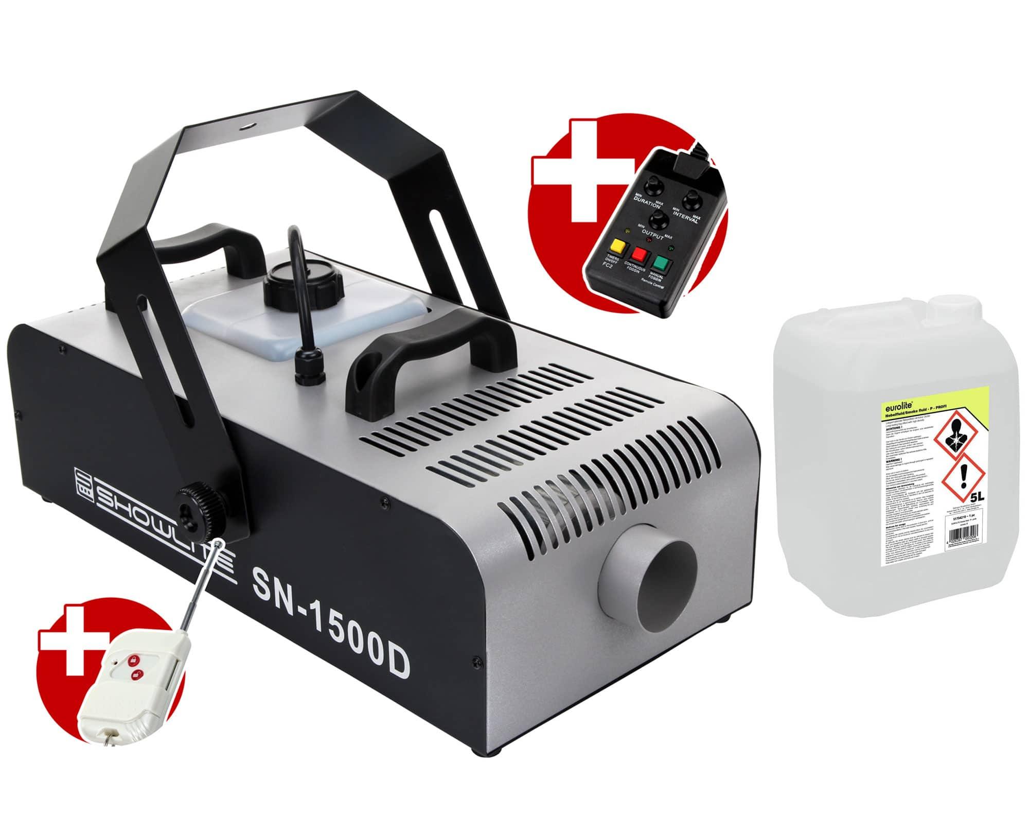 Komplettset Showlite SN 1500 DMX Nebelmaschine 1500W inkl. Fernbedienung mit Timer 5 L Nebelfluid