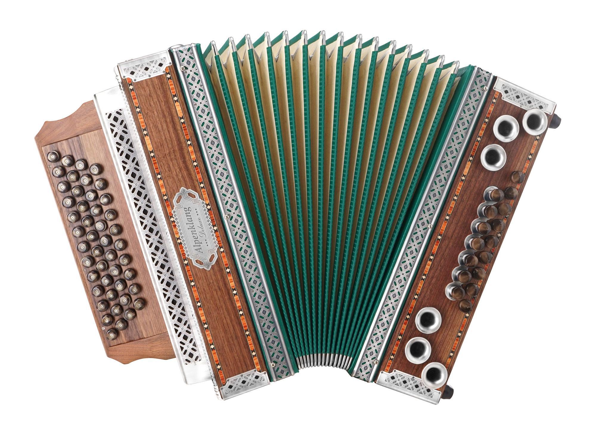 Alpenklang 4|III Harmonika 'Deluxe' G C F B Nuss mit H Bass und Altsilber Beschlägen