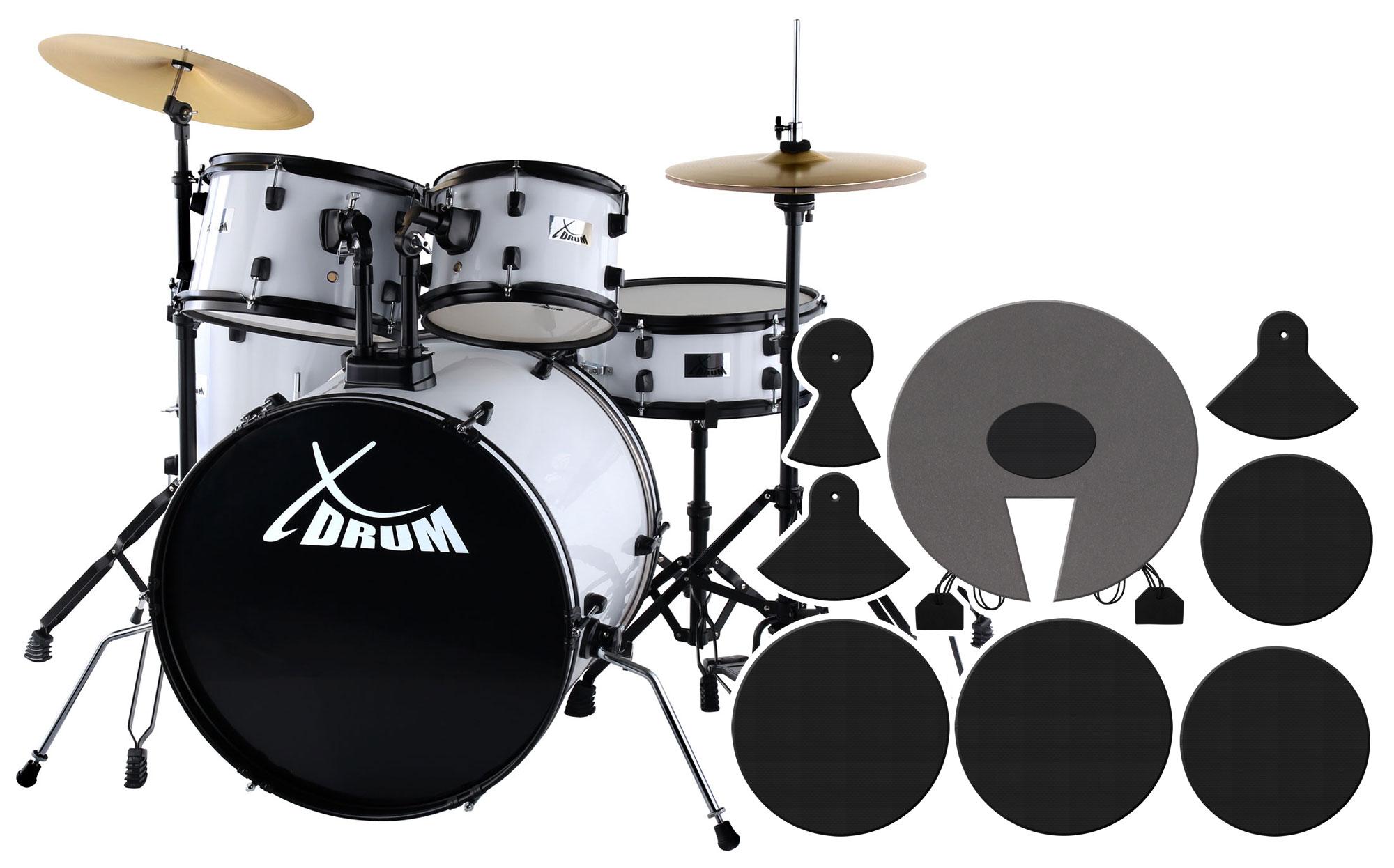XDrum Rookie 22' Fusion Schlagzeug White plus Dämpferset