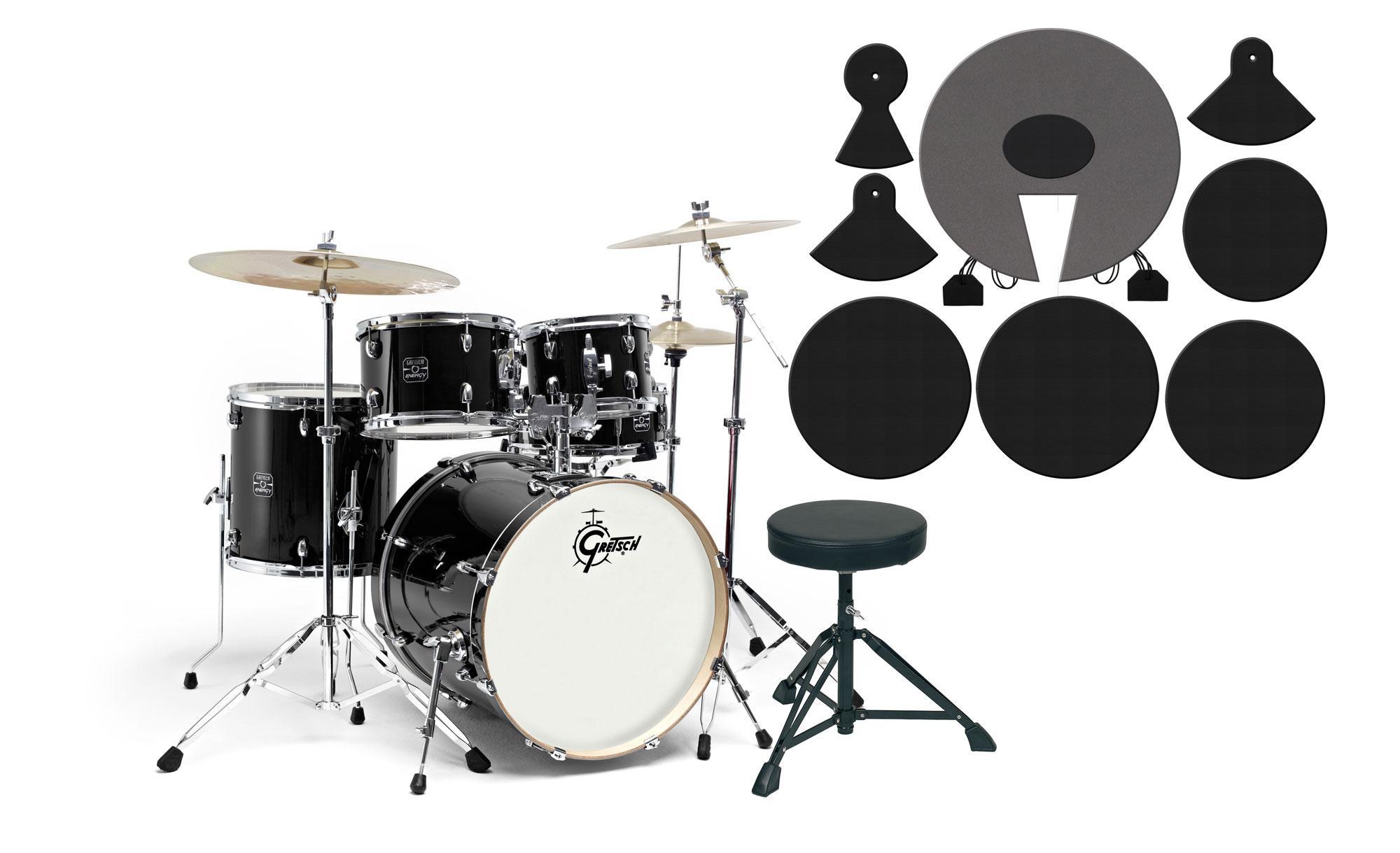 Gretsch Energy Drumkit Black Set mit Dämpferpads