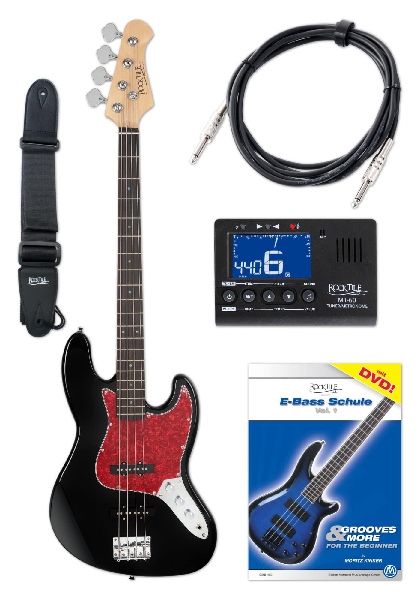 Ebaesse - Rocktile Pro JB 30BK 70s Deluxe E Bass Set Schwarz - Onlineshop Musikhaus Kirstein