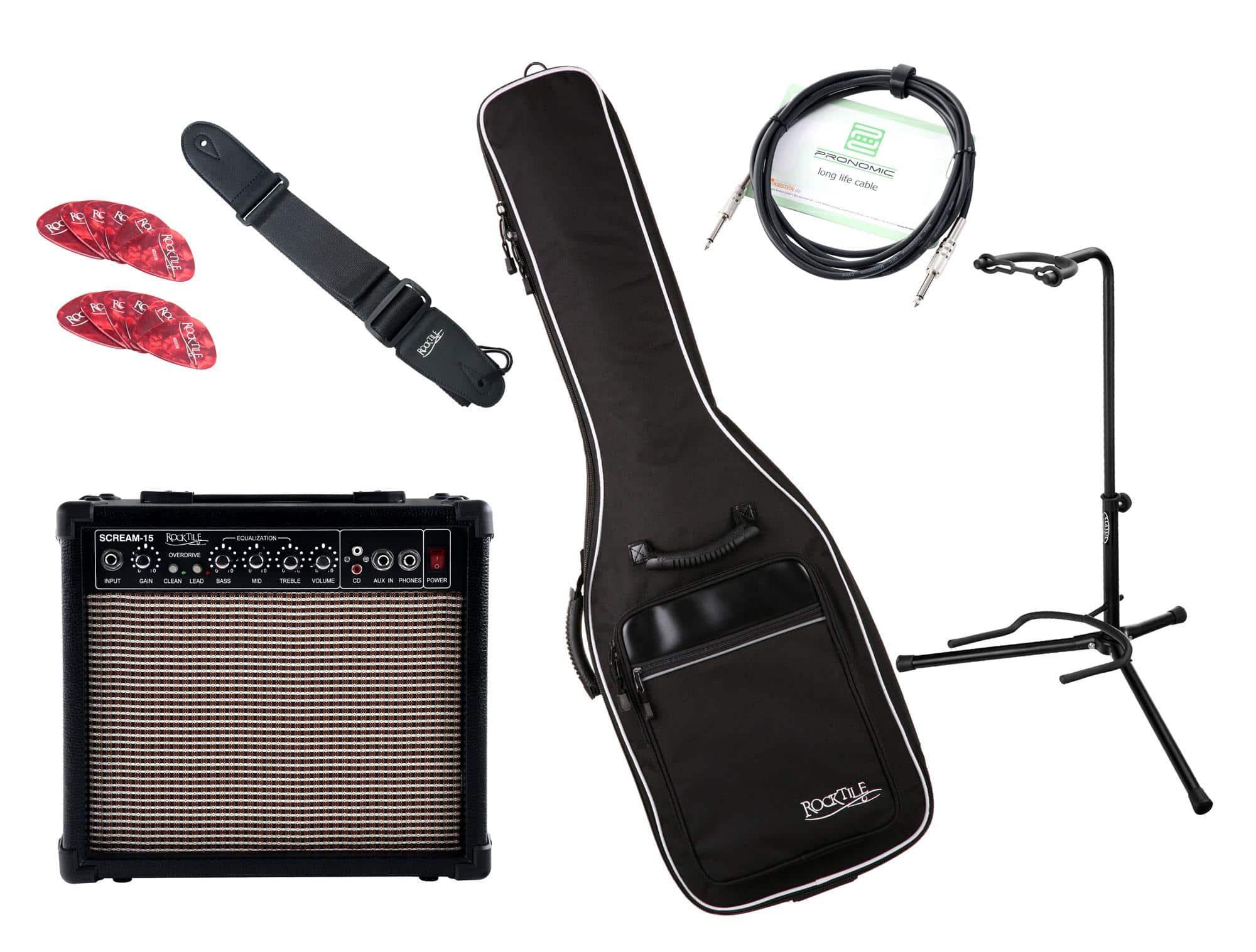 Zubehoergitarren - Rocktile E Gitarren Add On Komplettset medium inkl. Amp, Tasche, Gurt, Ständer, Kabel und Picks - Onlineshop Musikhaus Kirstein
