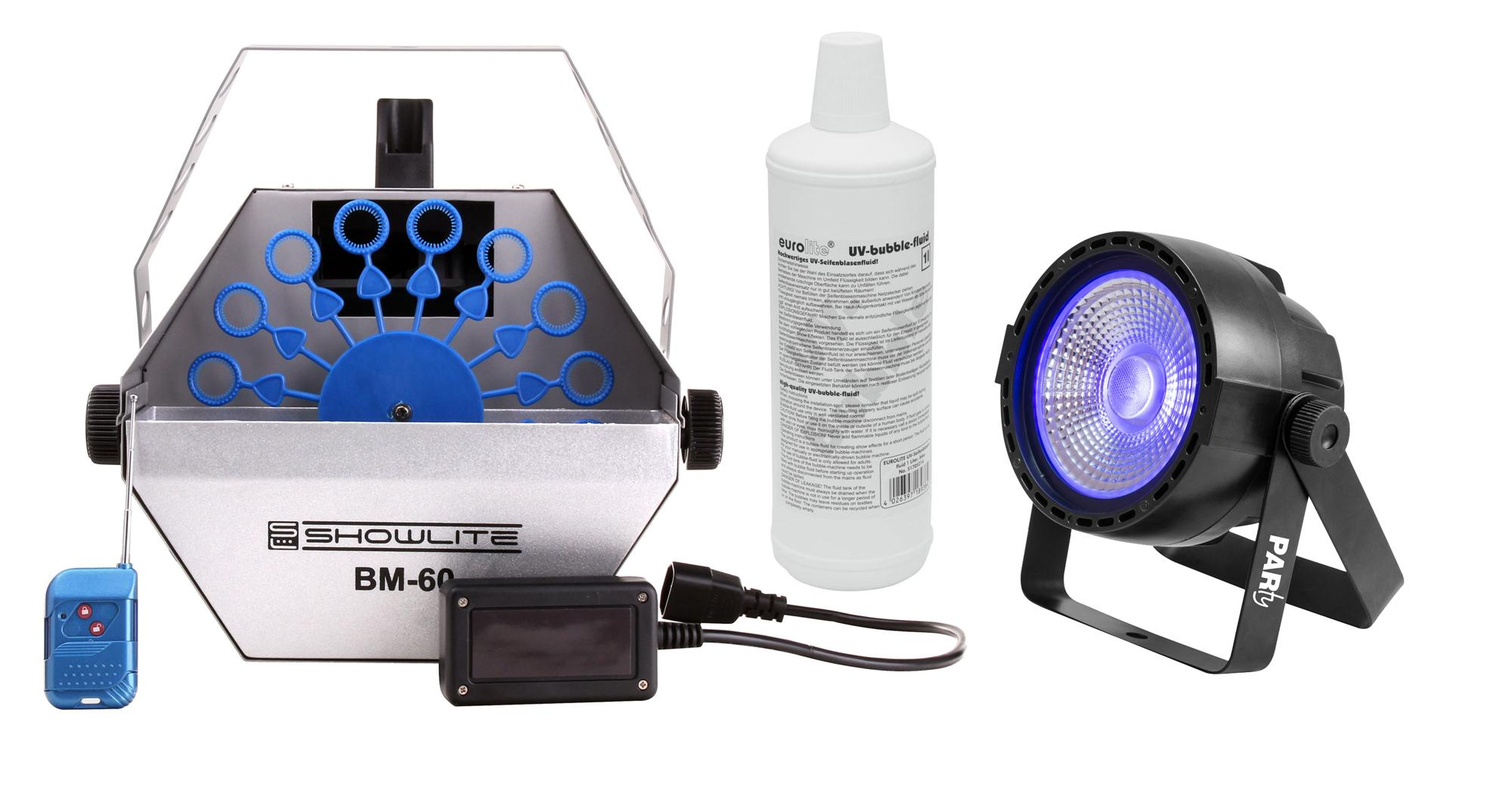 Showlite BM 60 UV Seifenblasen Set Blau