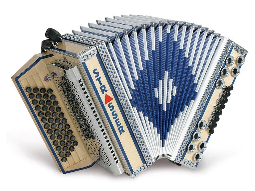 Akkordeons - Strasser 4|III De Luxe E Harmonika 4 reihig, 3 chörig G C F B, mit X Bass, Ahorn|Blau - Onlineshop Musikhaus Kirstein