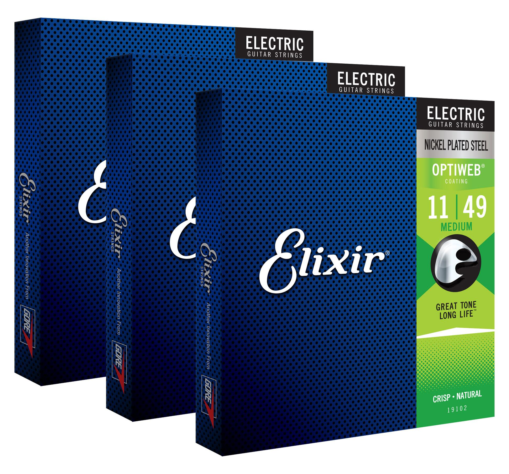 Saiten - Elixir 19102 Electric Optiweb Medium 3er Set - Onlineshop Musikhaus Kirstein