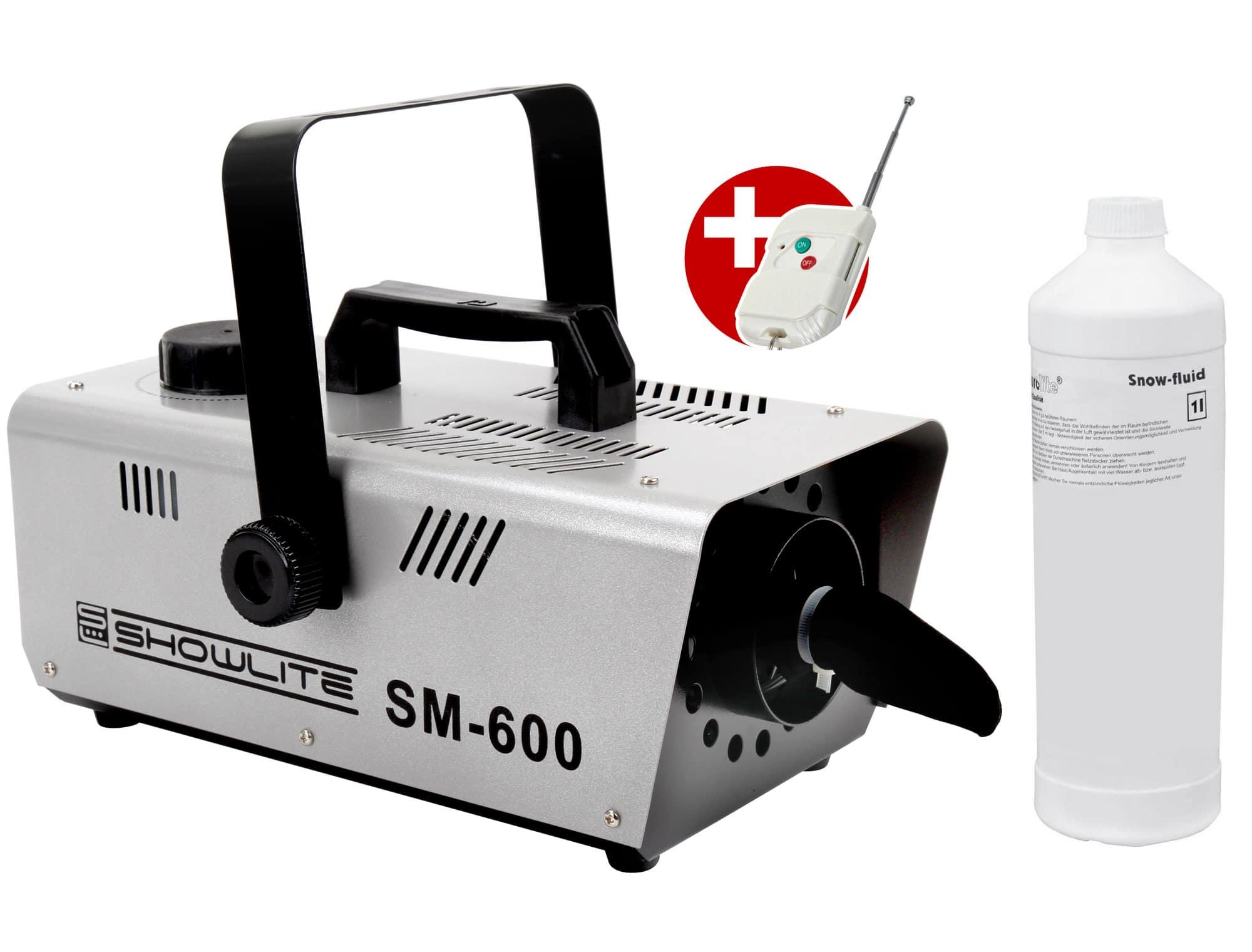 Komplettset Showlite SM 600 Schneemaschine 600W inkl. Fernbedienung 1 L Schneefluid
