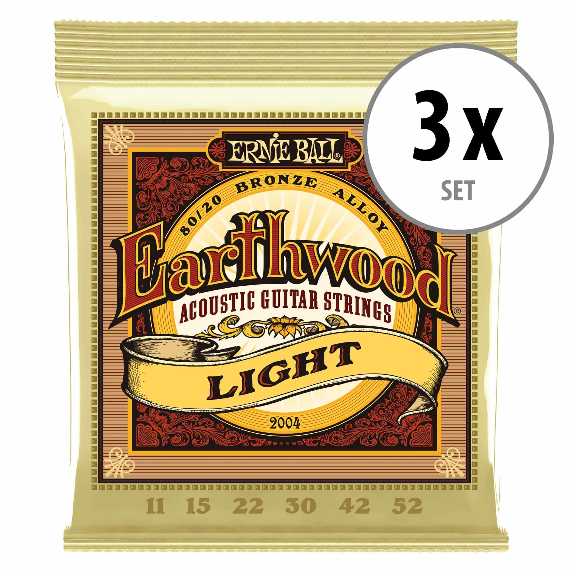 Saiten - 3er Set Ernie Ball 2004 Earthwood 80|20 Light - Onlineshop Musikhaus Kirstein
