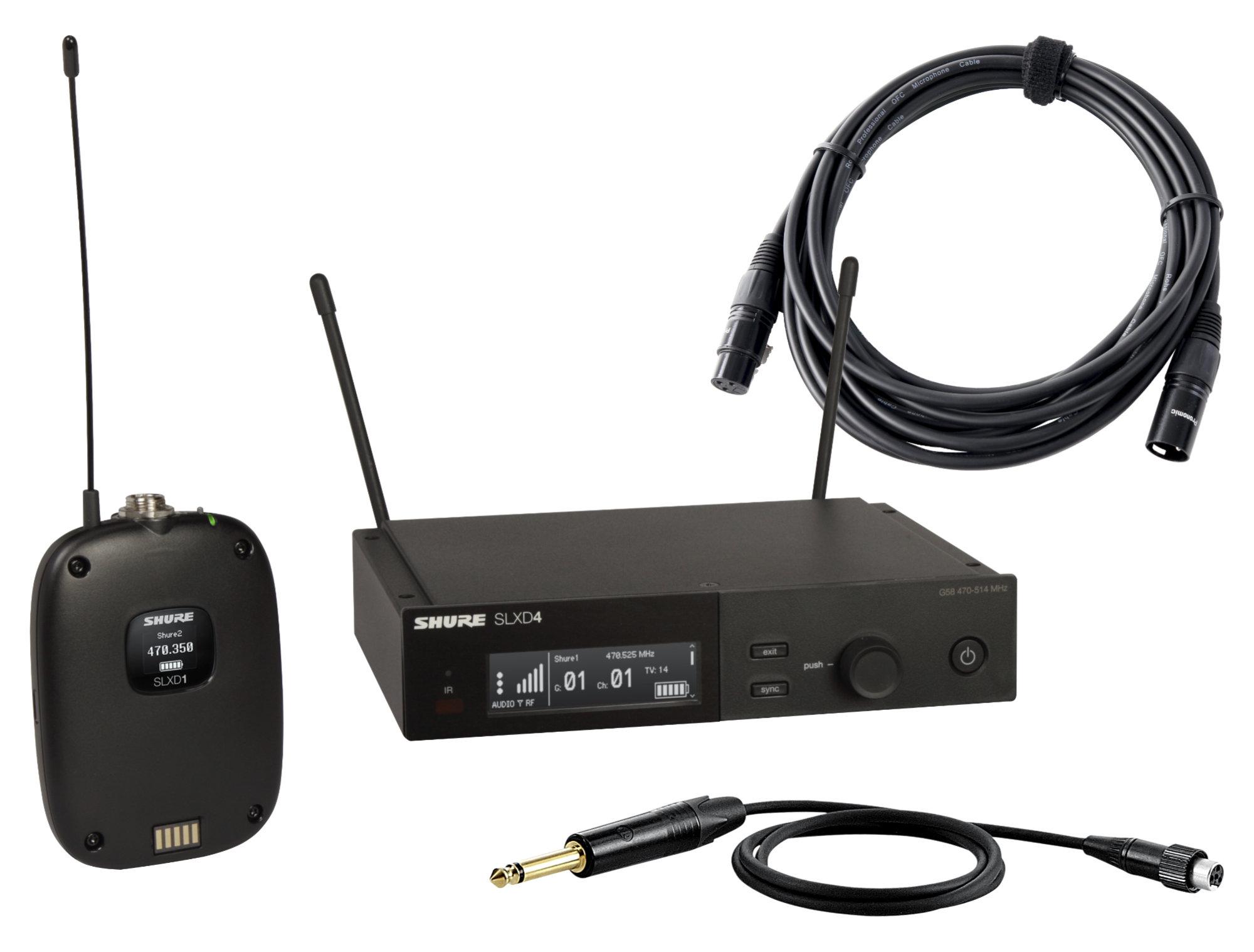 Drahtlossysteme - Shure SLXD14E S50 Taschensender Set inkl. XLR Kabel - Onlineshop Musikhaus Kirstein