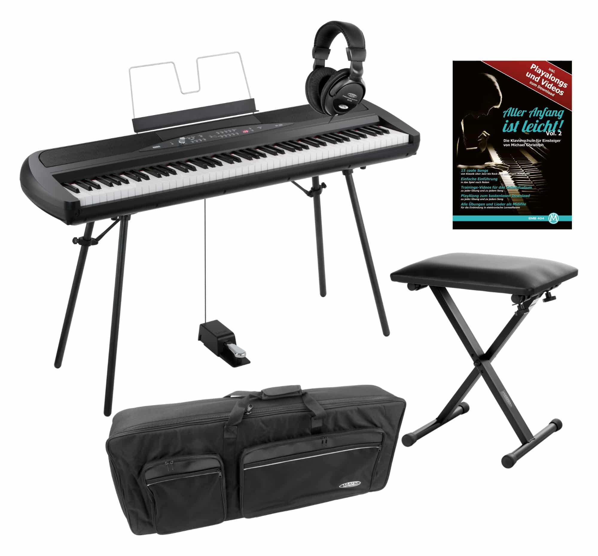 Korg SP 280 BK Portable Piano schwarz SET