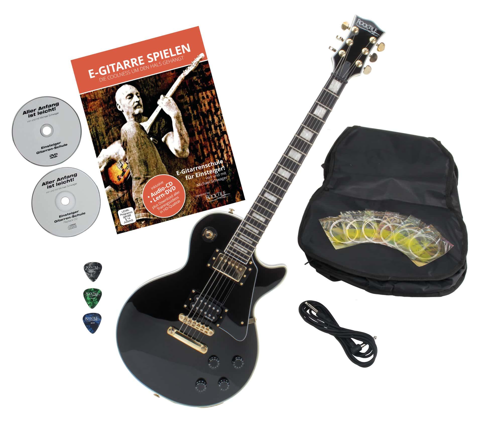 Rocktile Pro L 200BK Deluxe E Gitarre Black mit Zubehör