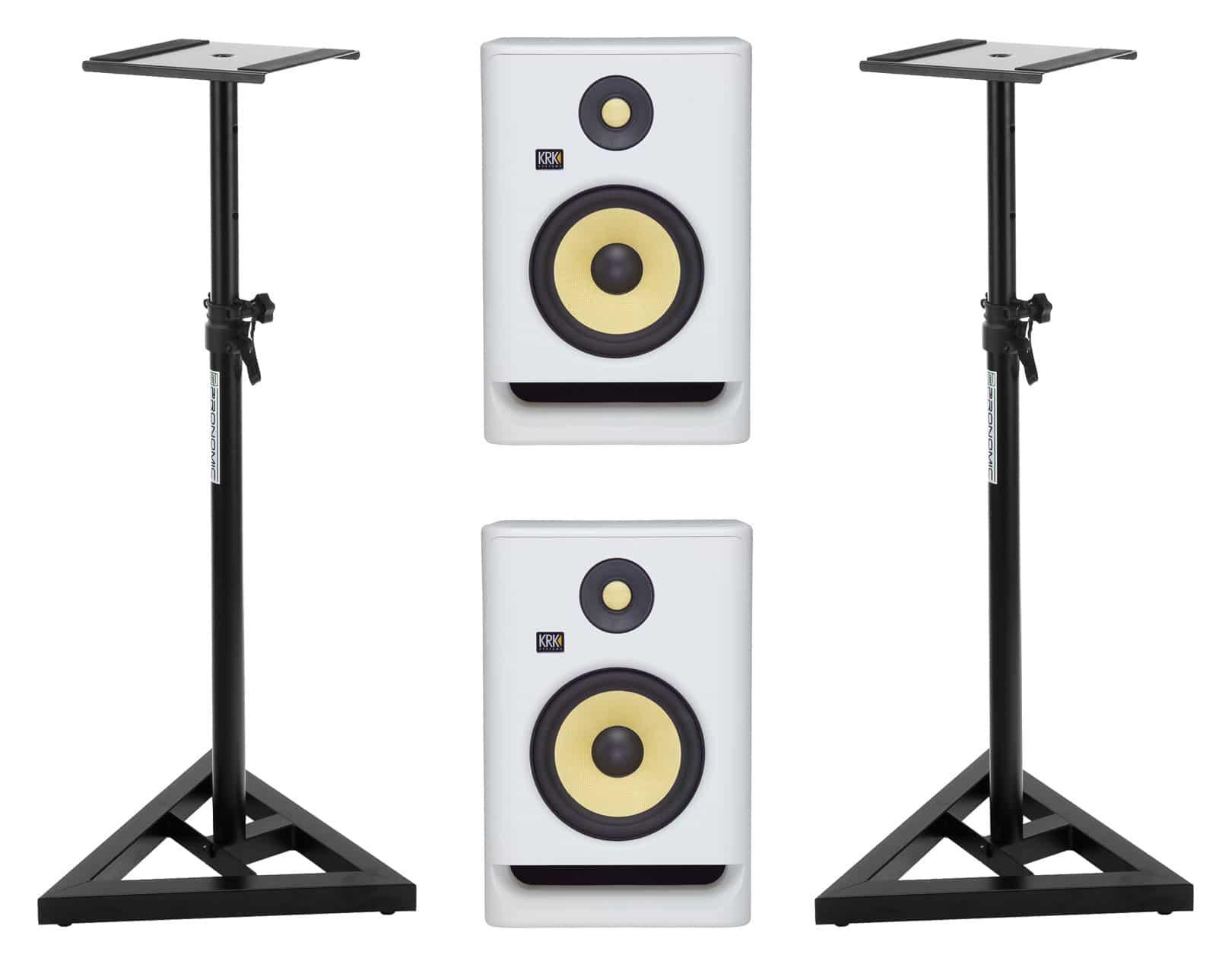 Studiomonitore - KRK ROKIT RP7 G4 White Noise Stativ Set - Onlineshop Musikhaus Kirstein