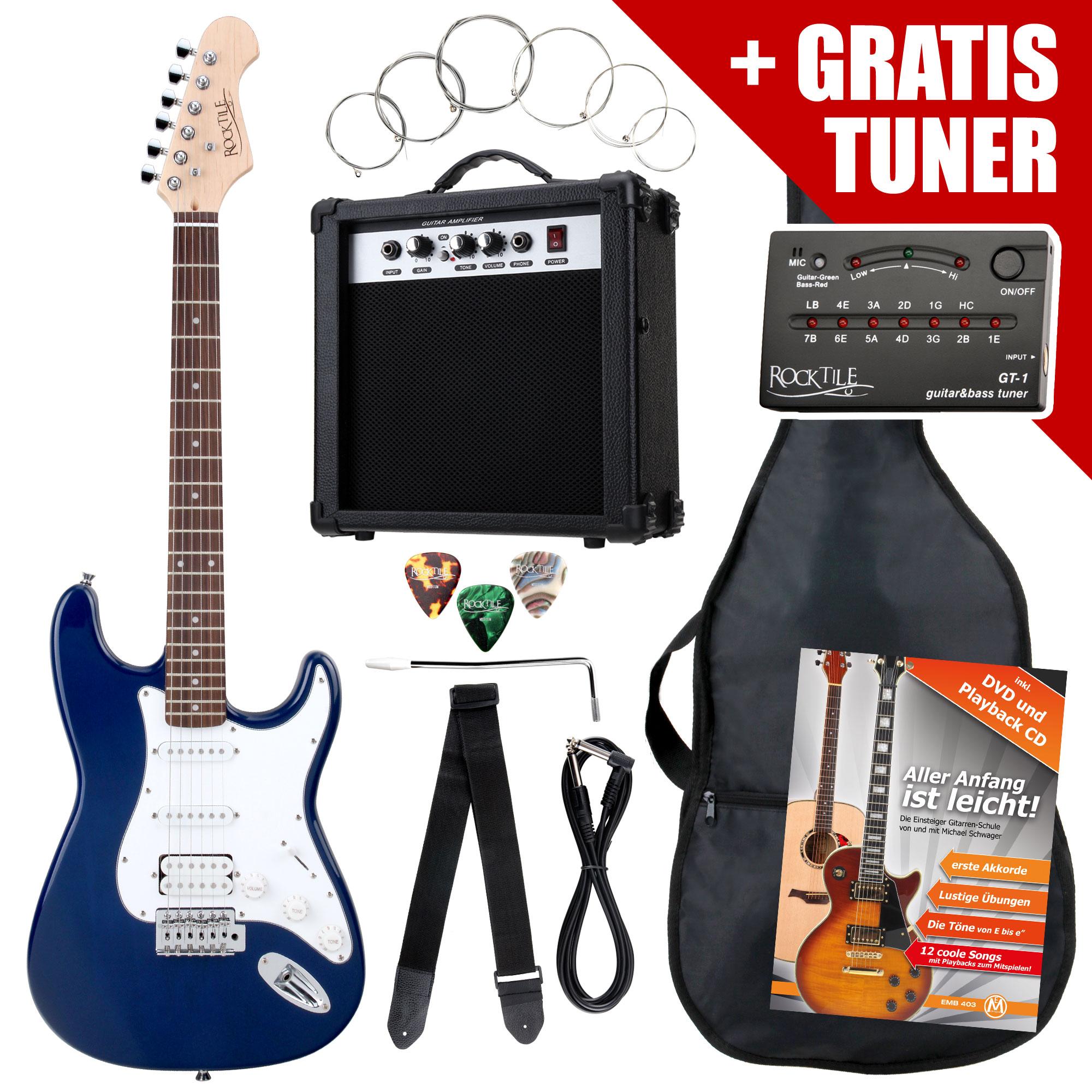 Rocktile ST PowerPack E Gitarre Set Blue inkl. Verstärker, Tasche, Stimmgerät, Kabel, Gurt, Saiten und Schule inkl. CD|DVD