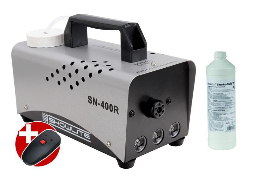 Komplettset Showlite SN 400R rot LED Nebelmaschine 400W inkl. Fernbedienung 1 L Nebelfluid
