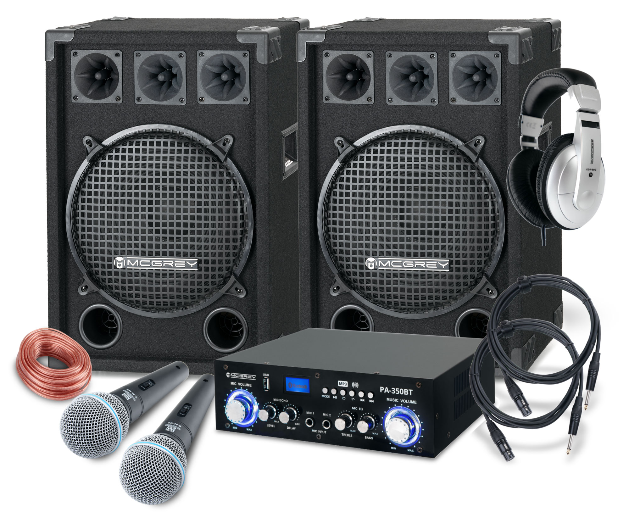 McGrey DJ Karaoke Komplettset Party 2000 1200W