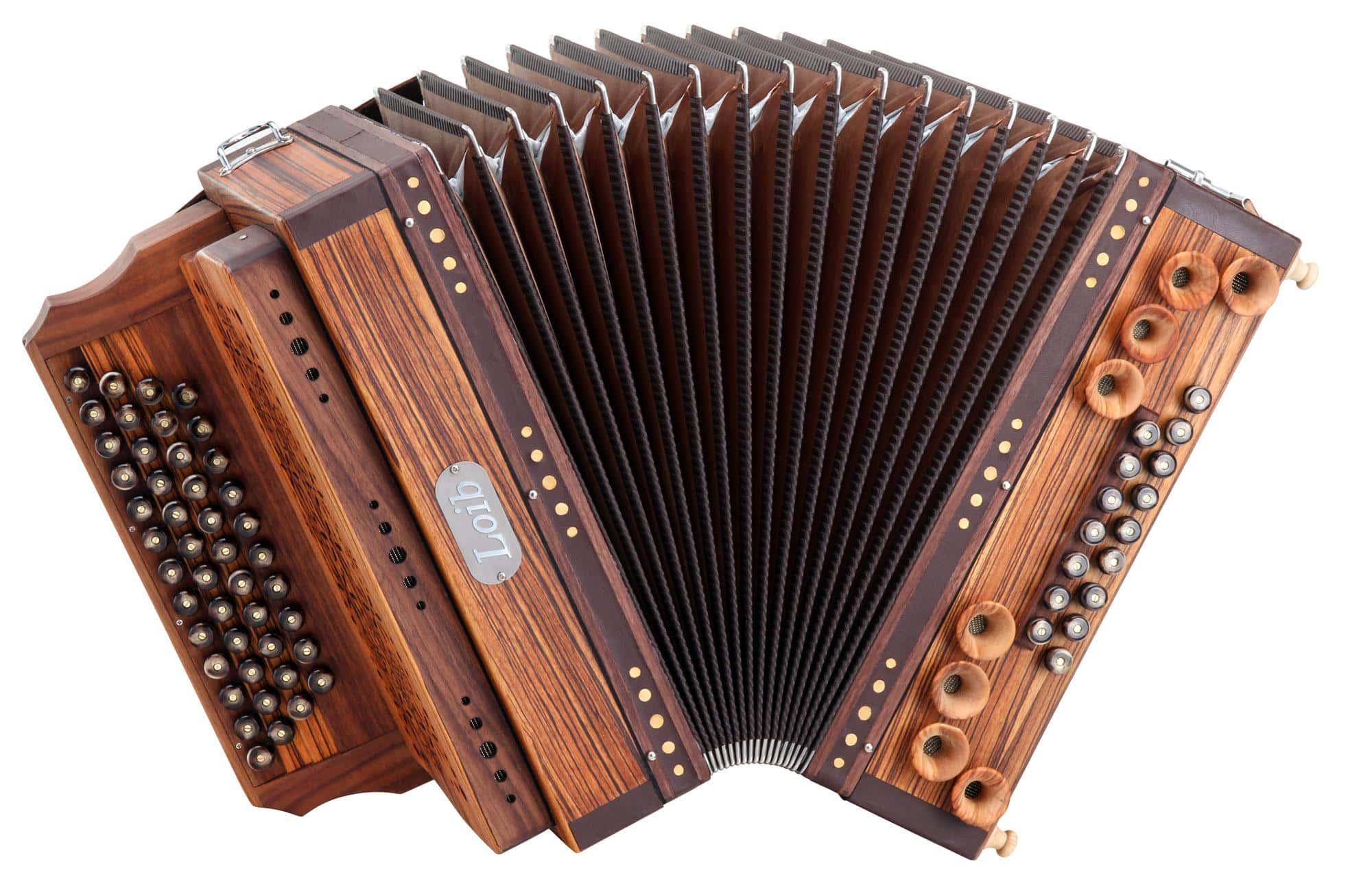 Akkordeons - Loib Harmonika IVD Zebrano G C F B mit H und X Bass, Holzverdeck - Onlineshop Musikhaus Kirstein