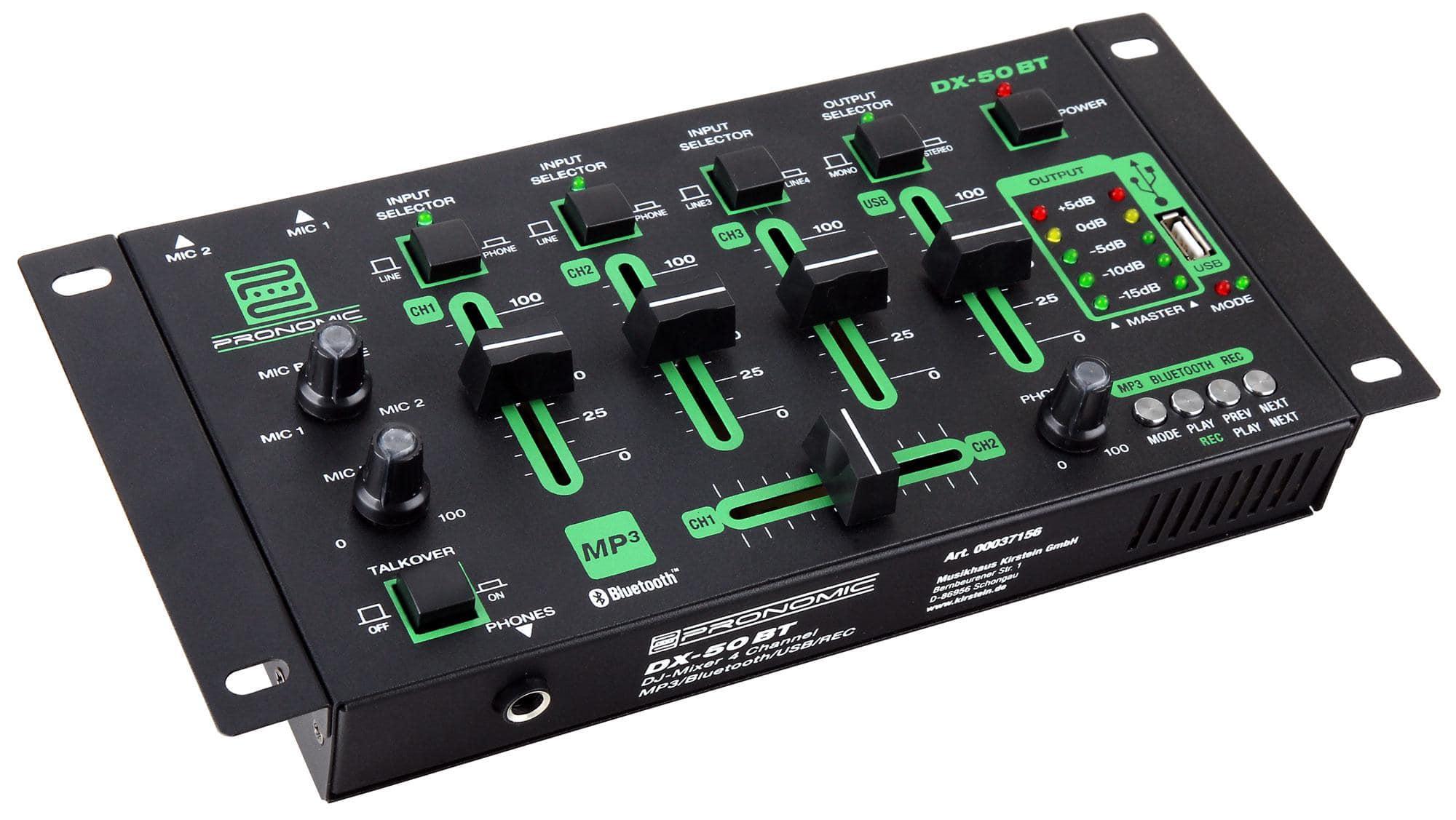Pronomic DX 50 4 Kanal USB DJ Mixer mit Recording Funktion und Bluetooth