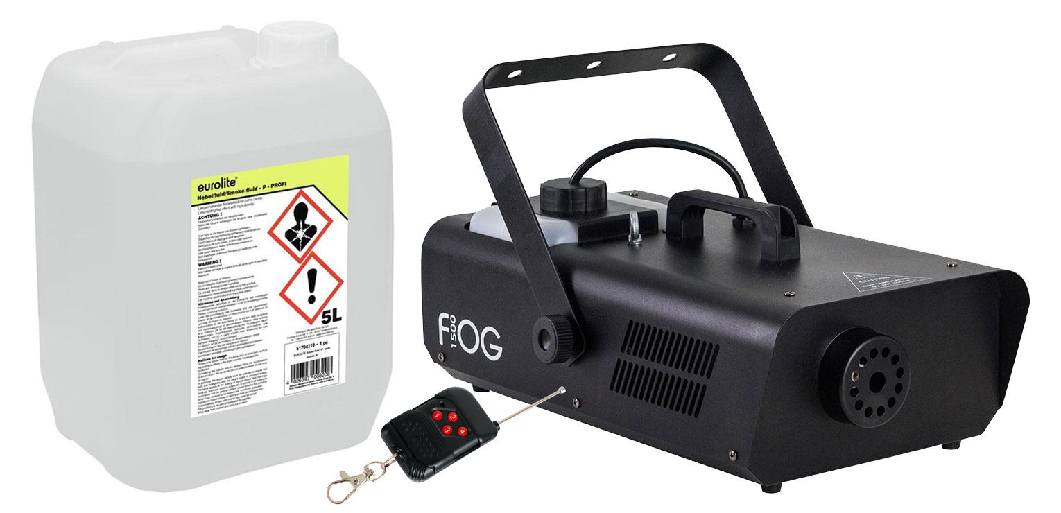 Involight FOG 1500 Nebelmaschinen Set inkl. Smoke Fluid, 5L