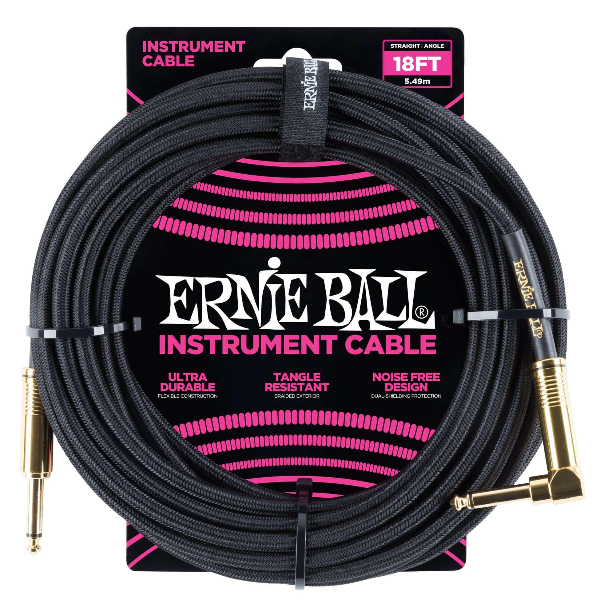 Kabelmulticores - Ernie Ball 6086 Instrumentenkabel 5,49 m Schwarz - Onlineshop Musikhaus Kirstein