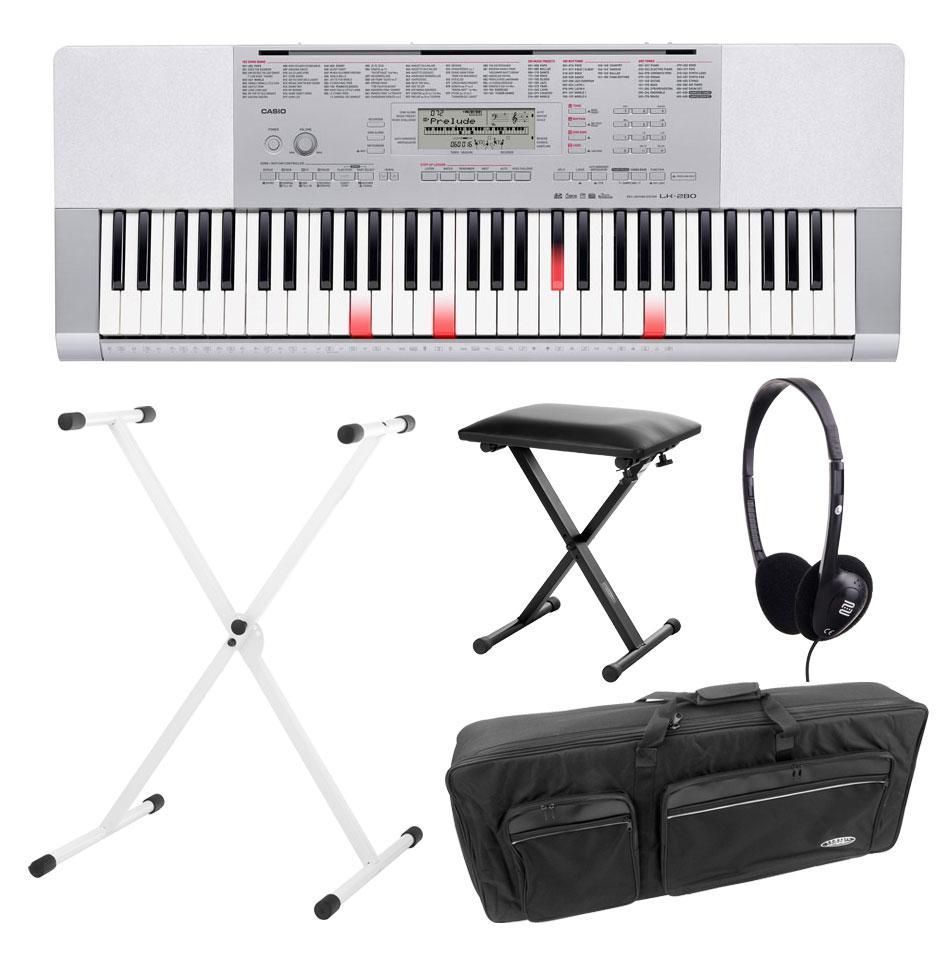 Casio LK 280 Leuchttasten Keyboard Deluxe SET inkl. Kopfhörer, Ständer, Bank und Tasche