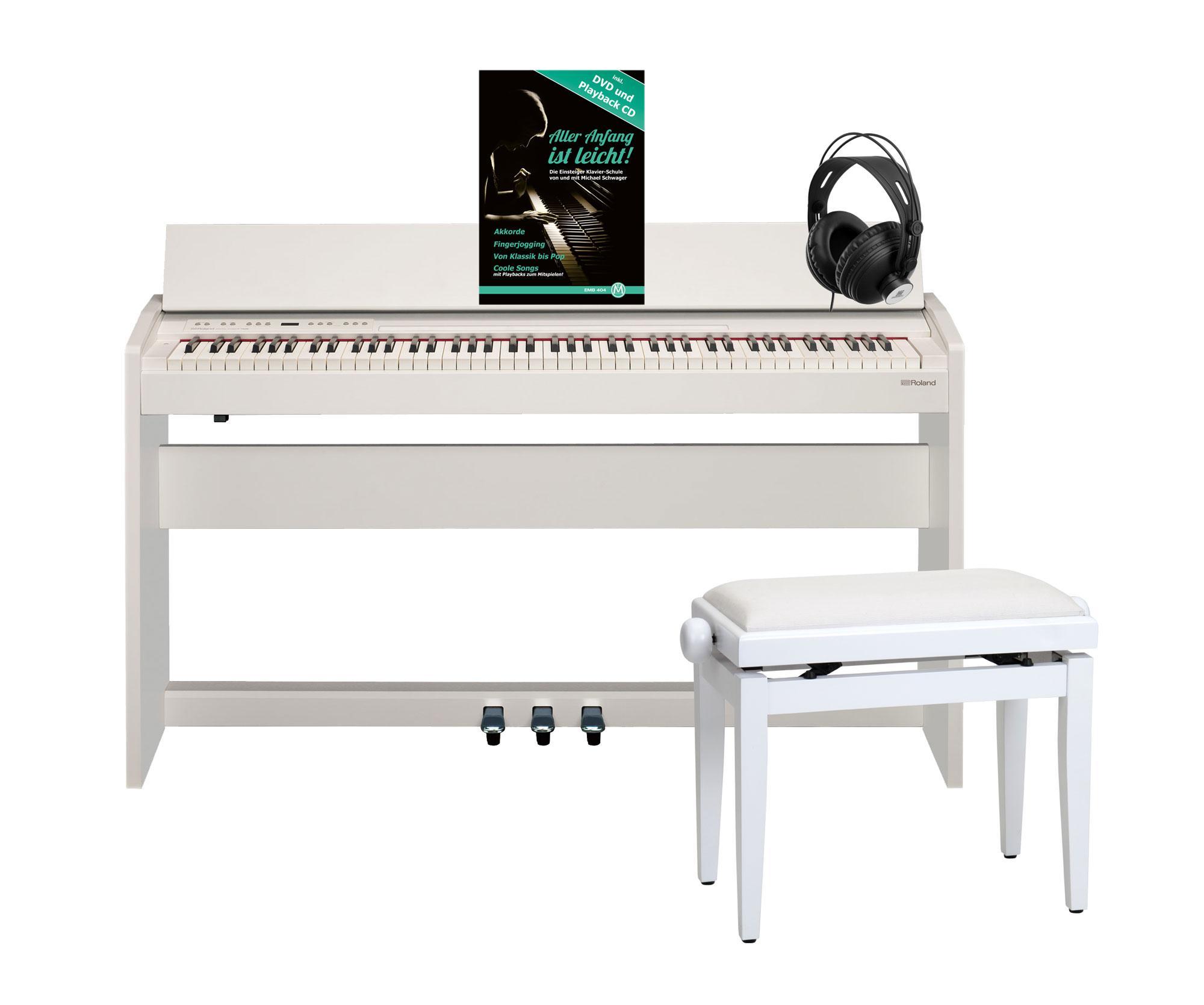 Roland F 140R WH Digitalpiano Weiß Matt SET inkl. Pianobank, Kopfhörer und Schule