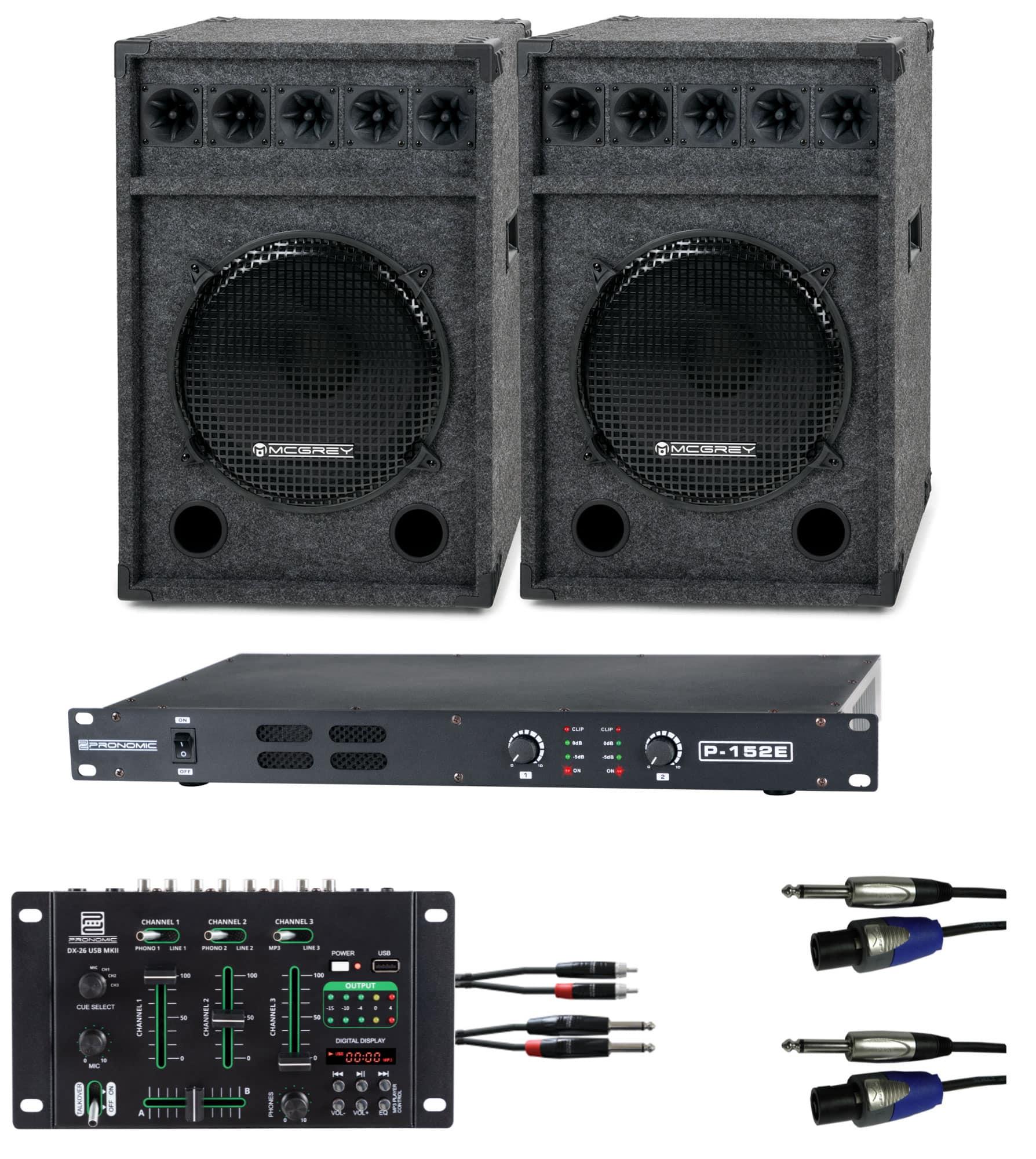 Djkomplettanlagen - Pronomic DJ Party Set II Komplettset 2x Festival 15 Box, 1x Mixer, Endstufe, Kabel - Onlineshop Musikhaus Kirstein