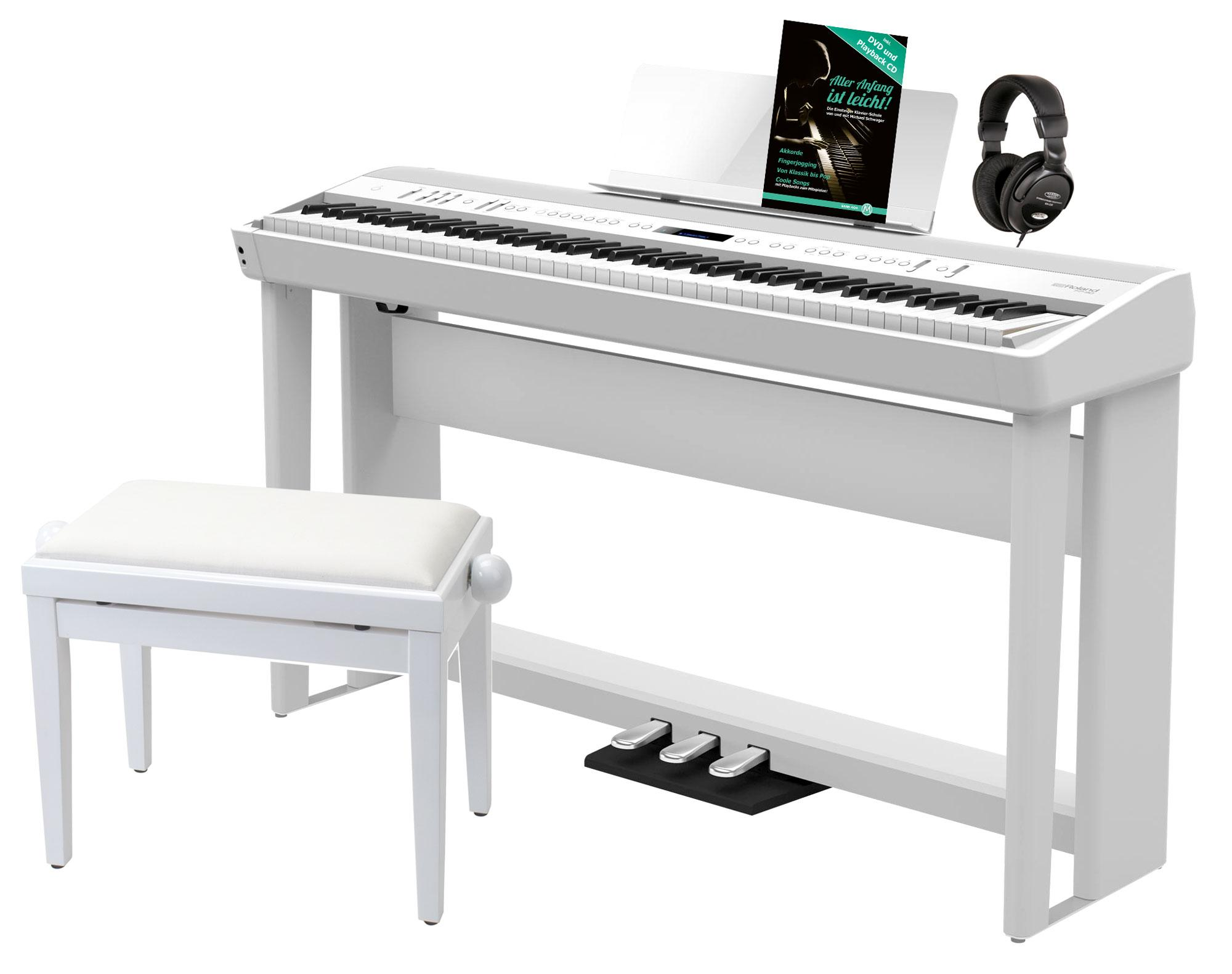 Roland FP 90 WH Stagepiano Home SET inkl. KSC 90 Ständer 3 fach Pedal
