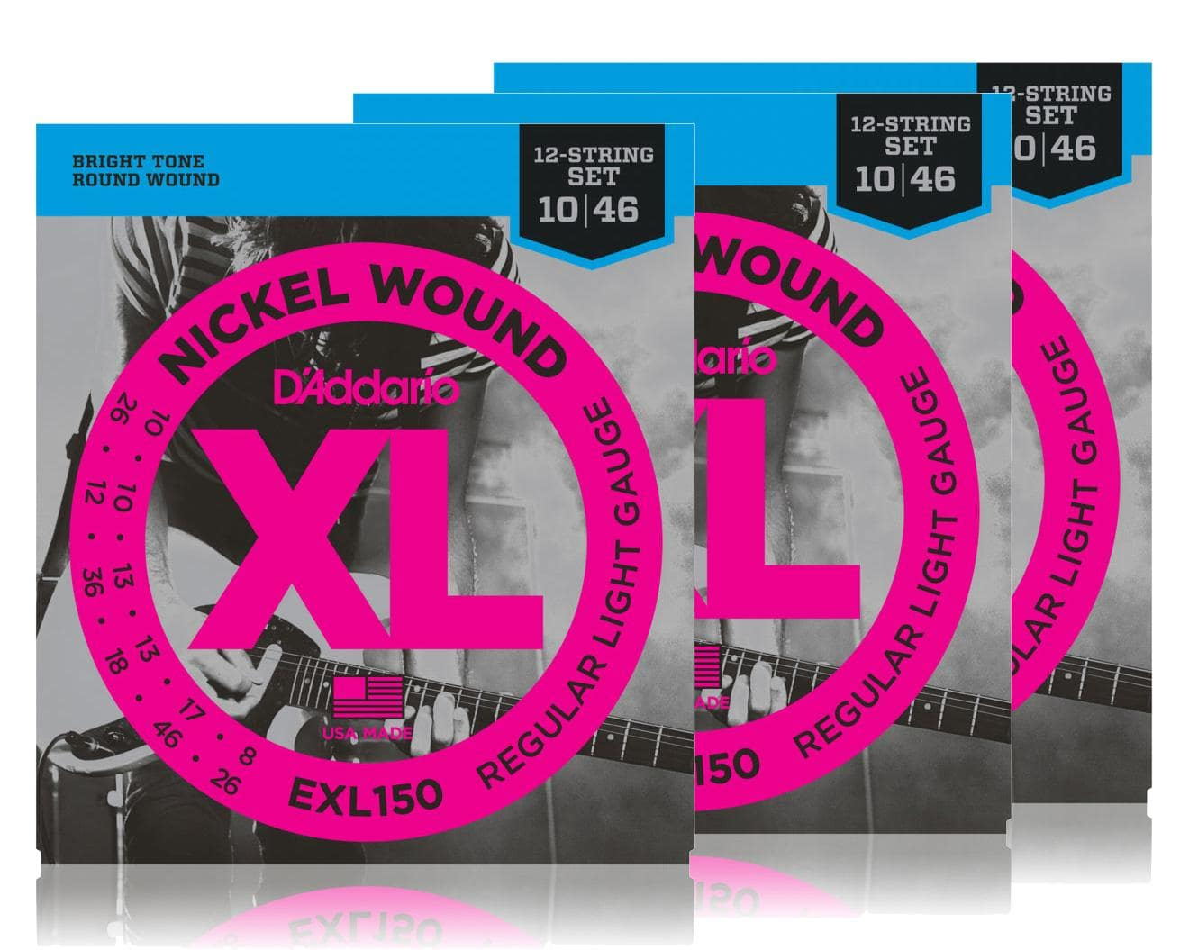 D'Addario EXL150 Regular Light 12 string 3er Pack