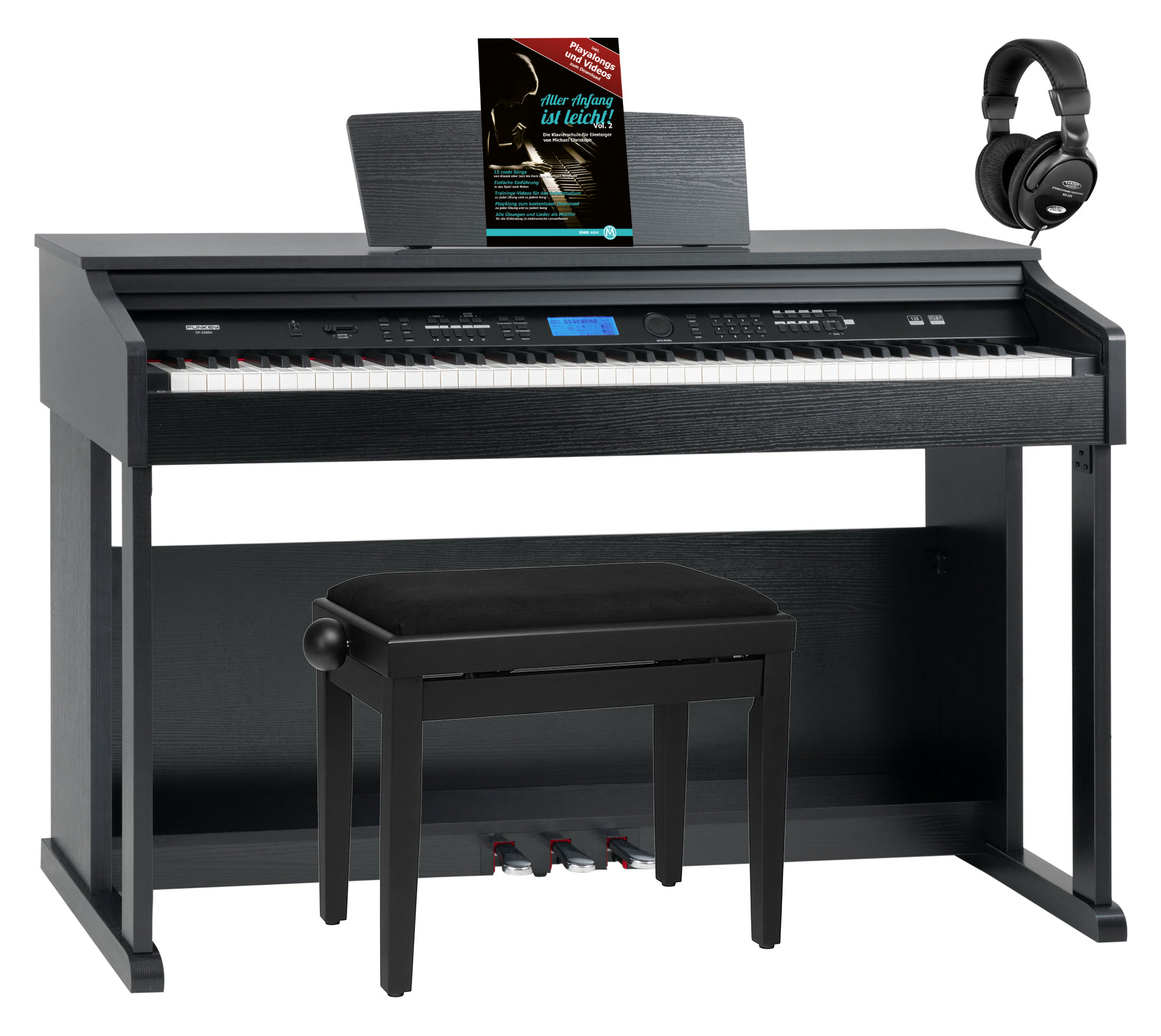 Digitalpianos - FunKey DP 2688A SM Digitalpiano schwarz matt Set - Onlineshop Musikhaus Kirstein