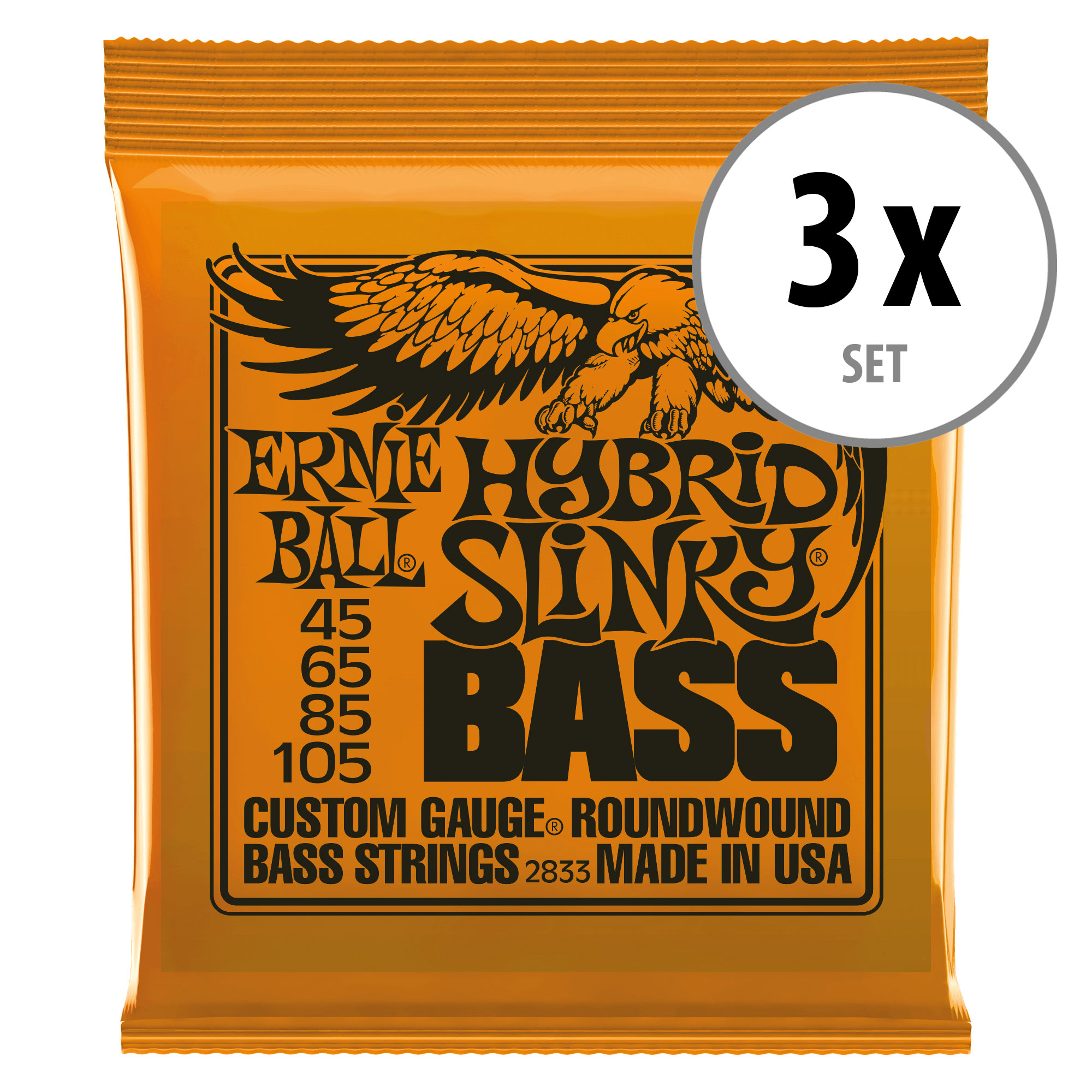 3er Set Ernie Ball 2833 Hybrid Slinky Nickel Wound