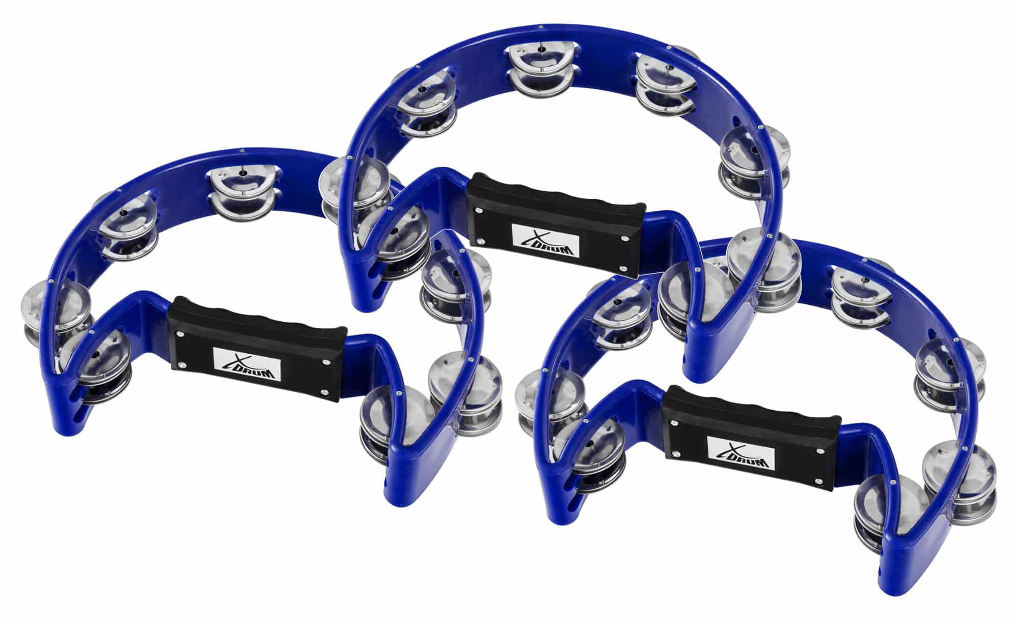 XDrum TM 1 BLU Hand Tambourin, blau Set 3x