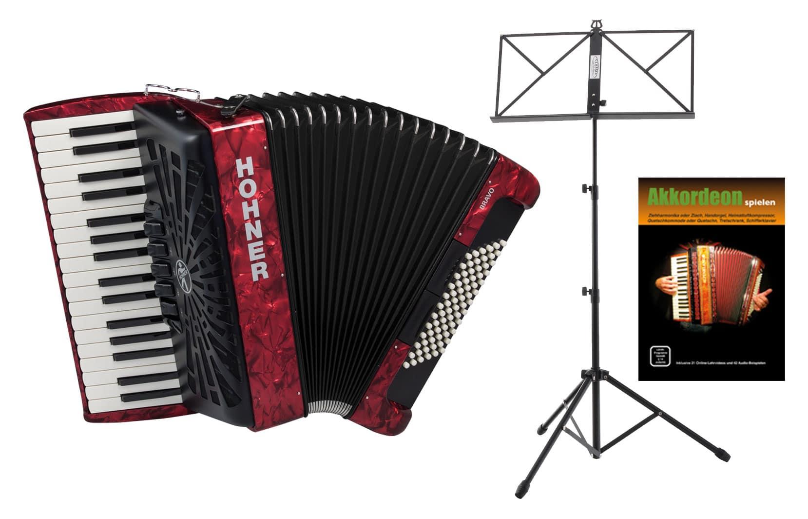 Akkordeons - Hohner Bravo III 72 SilentKey Rot Starter Set - Onlineshop Musikhaus Kirstein