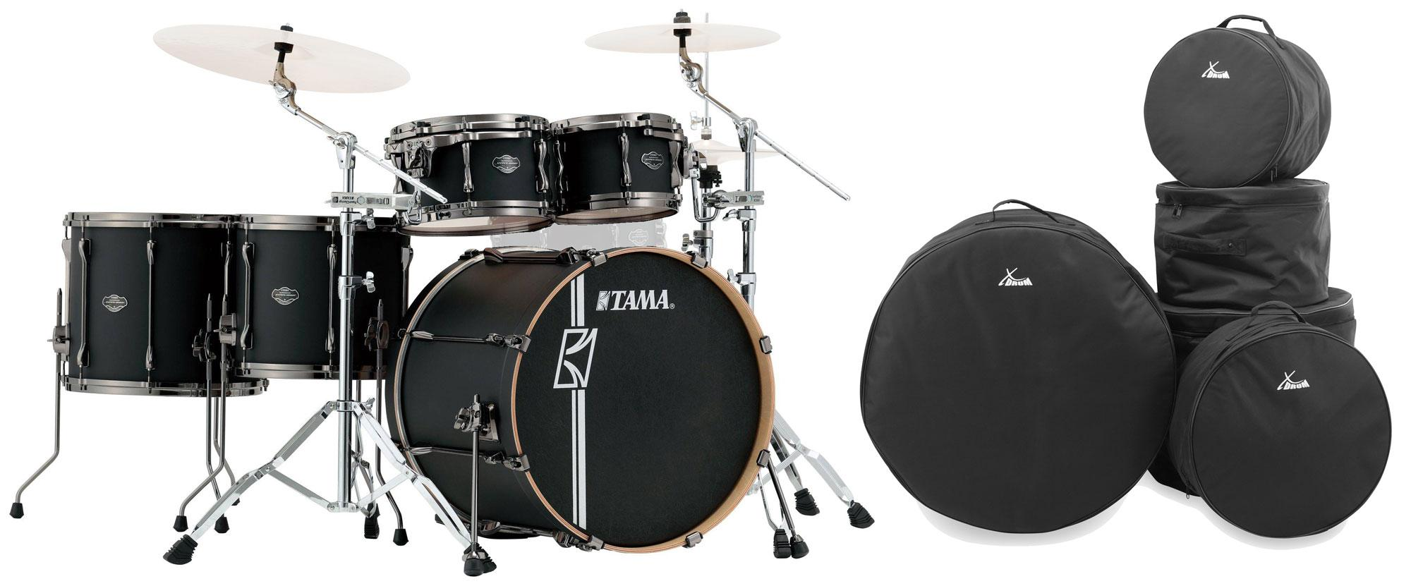 Tama ML52HLZBN FBK Superstar Maple Drumkit Flat Black Set inkl. Gigbags