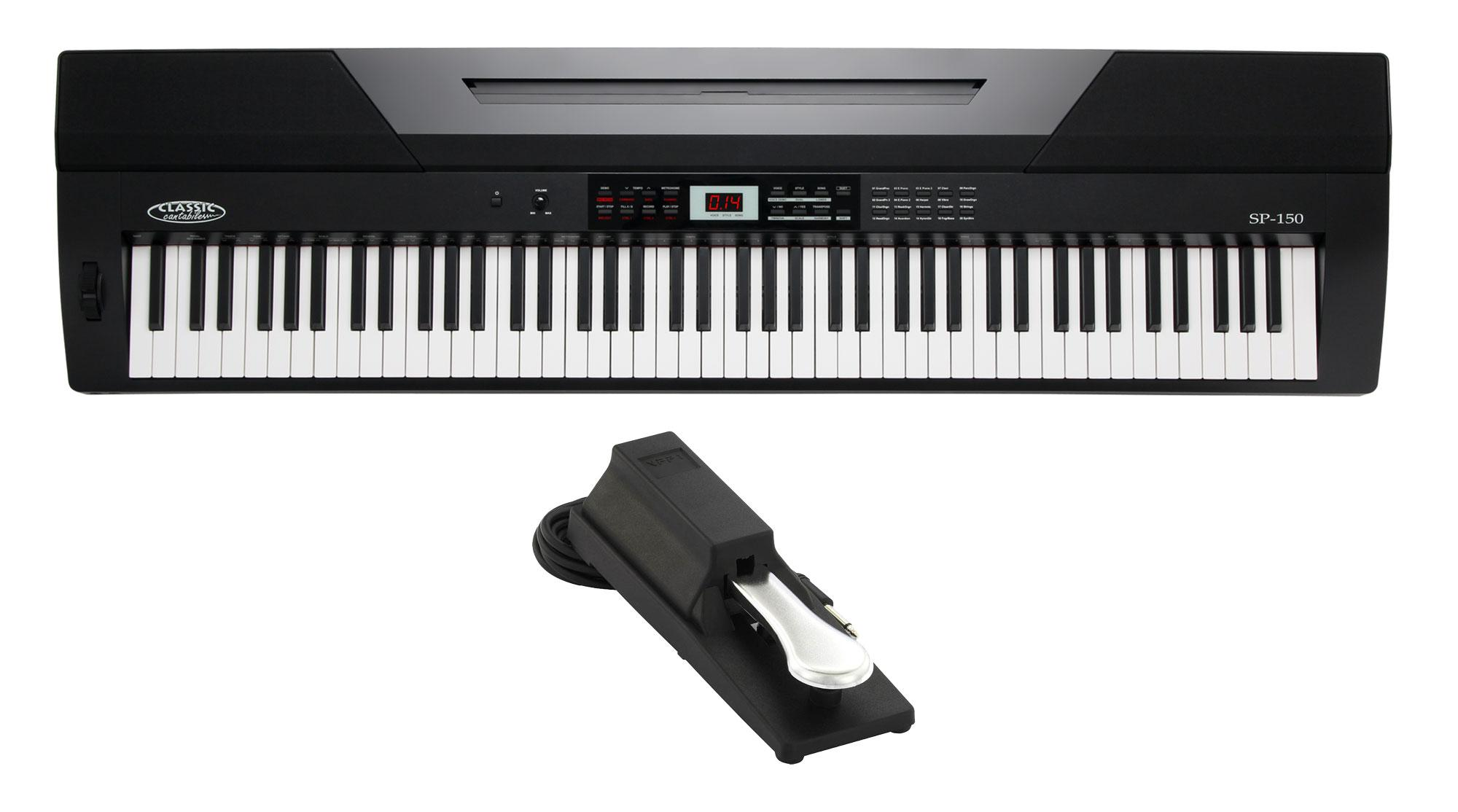 Classic Cantabile SP 150 BK Stagepiano schwarz SET inkl. Pedal