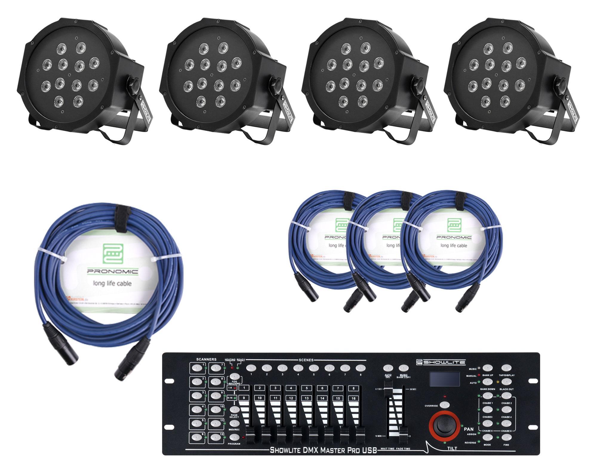 Showlite FLP 12x1W Scheinwerfer 4 x Set inkl. Showlite Master Pro USB Kabel