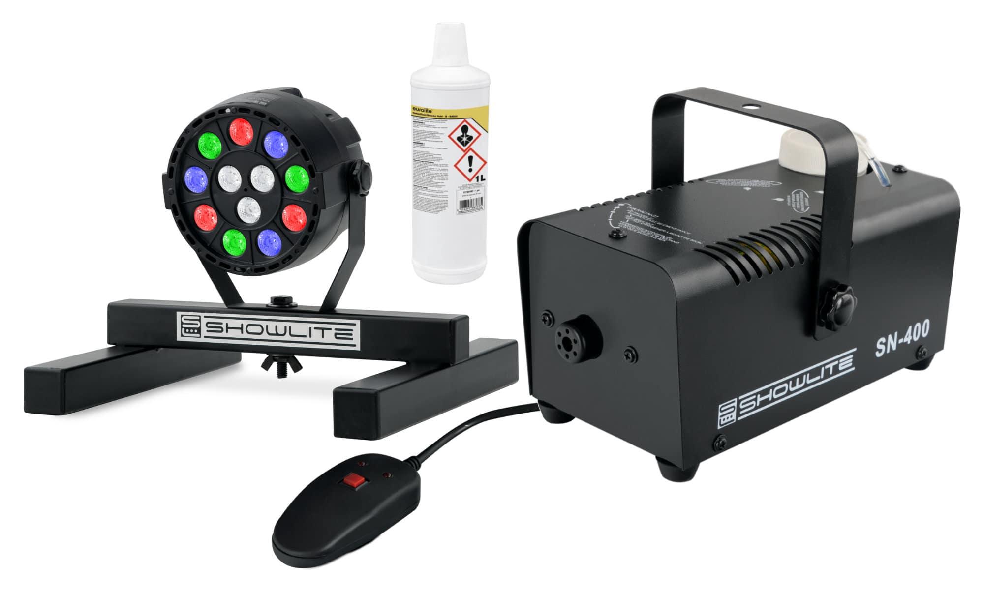 Nebeleffekte - Showlite SN 400 Nebelmaschine SPS 121 RGBW Spot 1 l Fluid Set - Onlineshop Musikhaus Kirstein