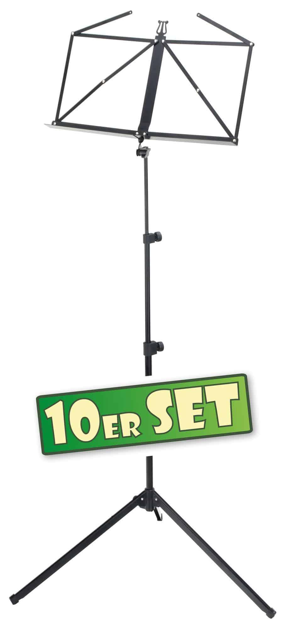 10er SET McGrey 100|2 B Notenständer schwarz, mit Tasche