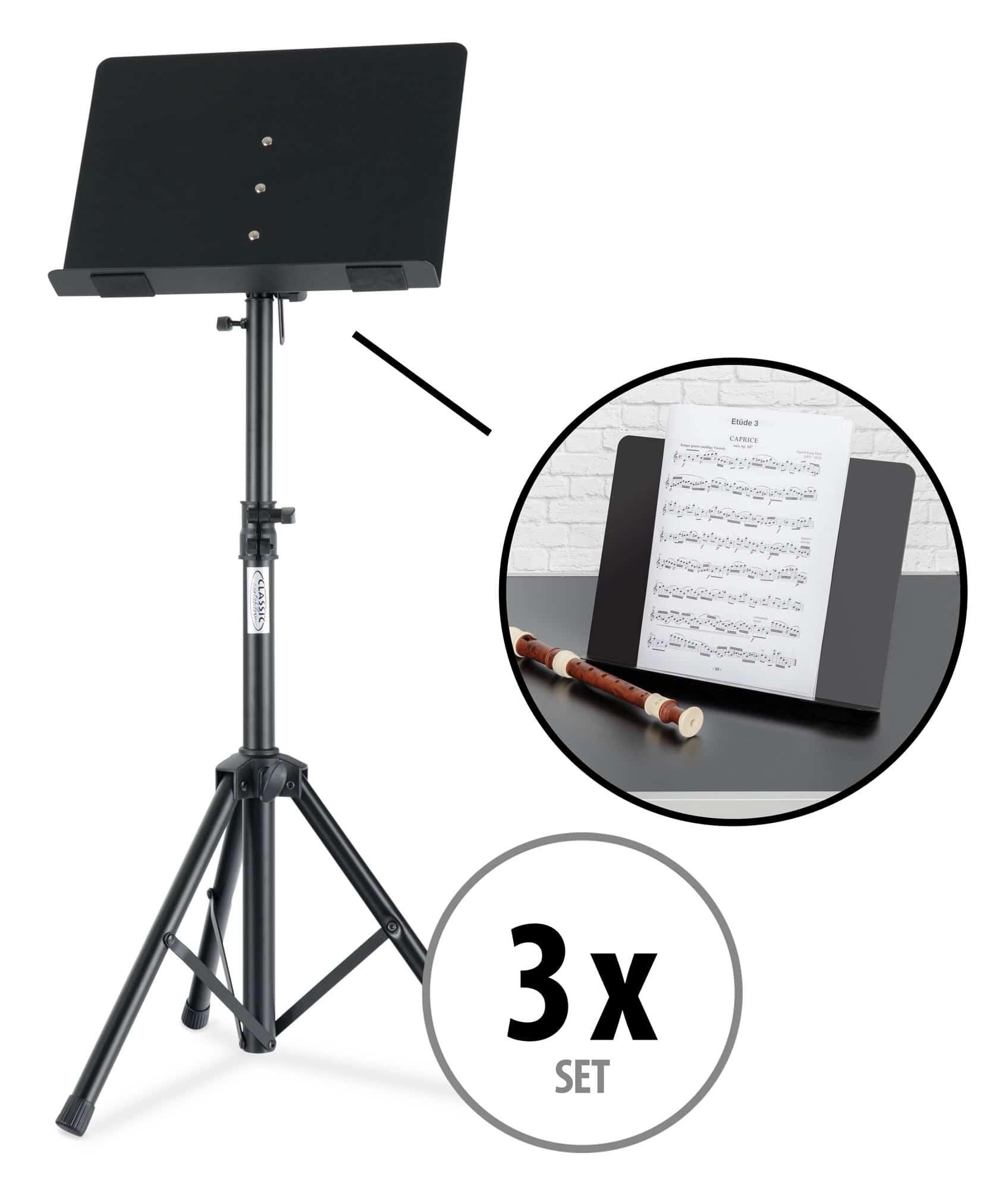 Musikerzubehoer - 3x Classic Cantabile OST 350 2 in 1 Notenpult Set - Onlineshop Musikhaus Kirstein