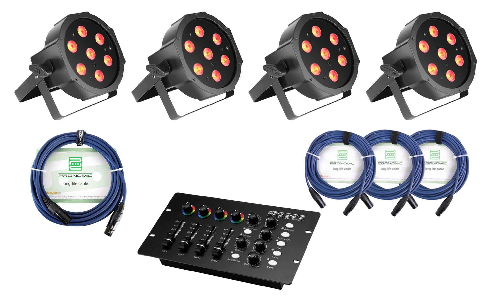 Lichtsets - Cameo Flat PAR 1 RGBW IR 4er Set inkl. DMX Controller Kabel - Onlineshop Musikhaus Kirstein