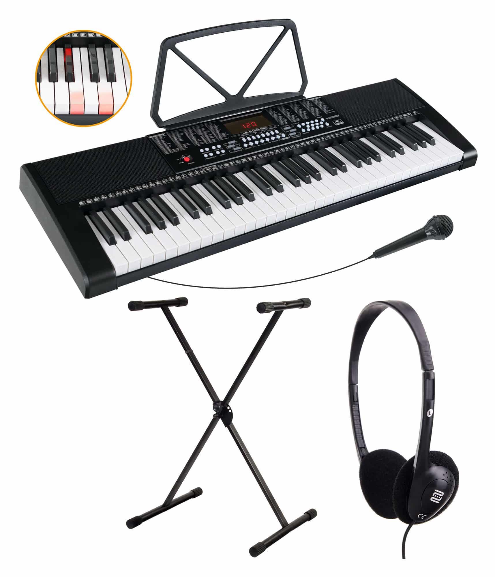 Homekeyboards - McGrey LK 6120 MIC Leuchttasten Keyboard mit Mikrofon Set inkl. Ständer und Kopfhörer schwarz - Onlineshop Musikhaus Kirstein