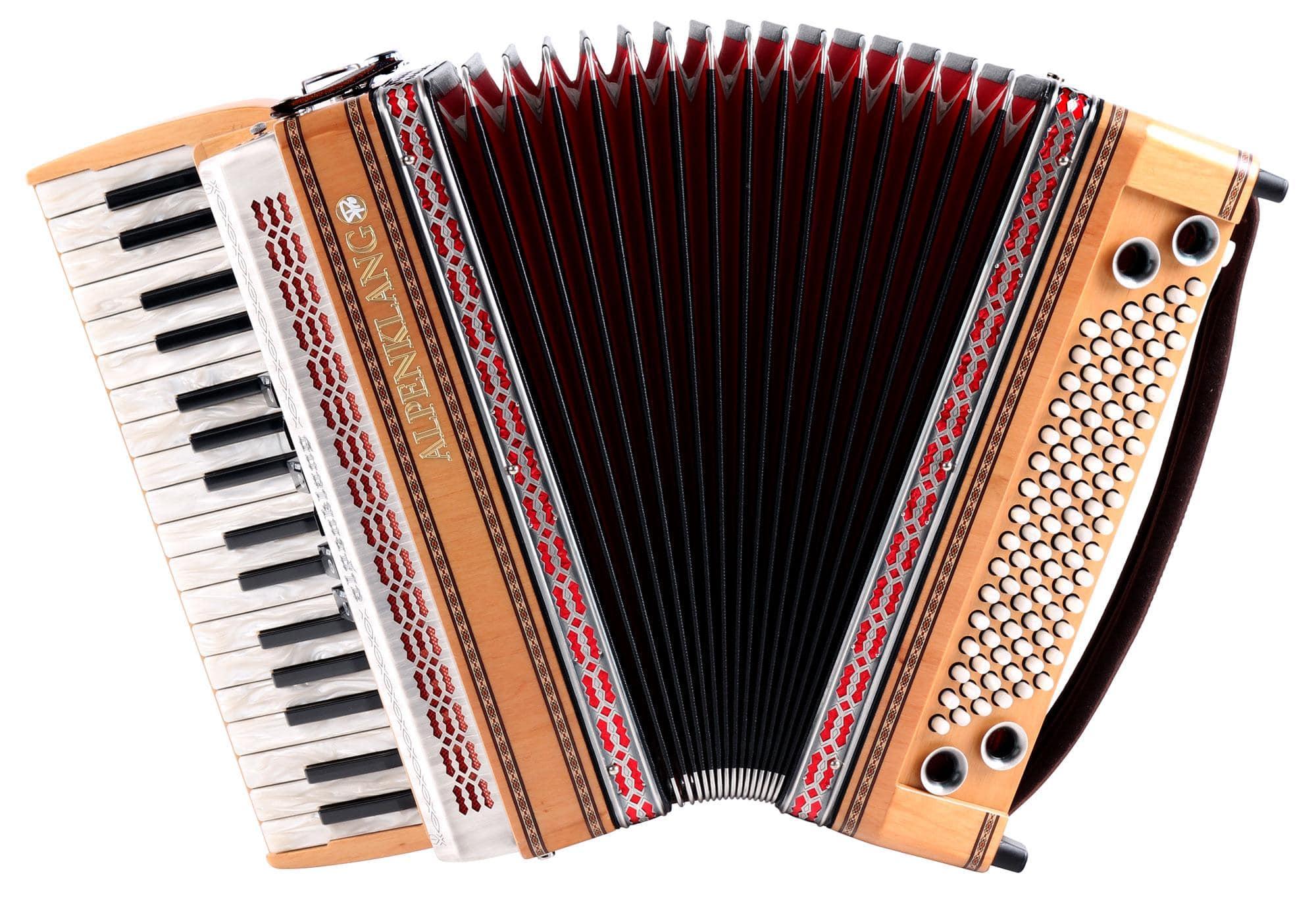 Akkordeons - Alpenklang Pro Akkordeon III 96 Tasten Steirische, Erle mit roter Einlage in der Zierblende - Onlineshop Musikhaus Kirstein