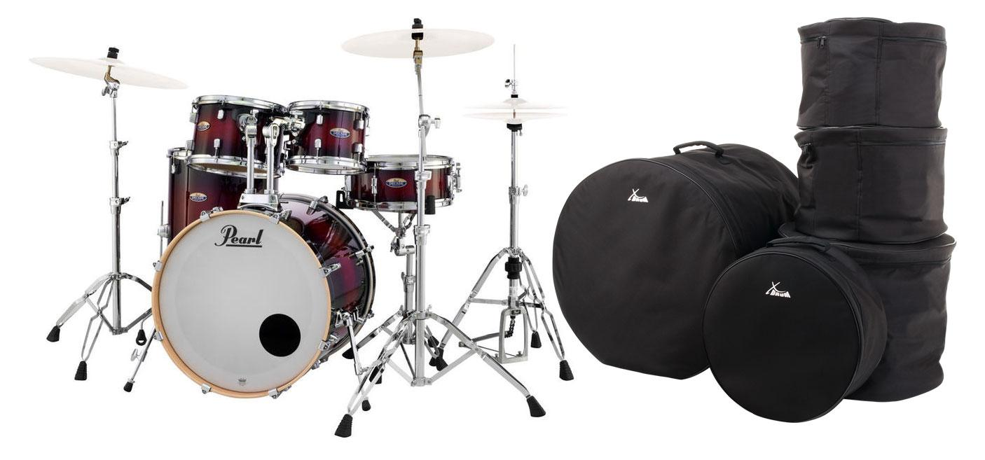 Pearl DMP925S|C261 Decade Maple Gloss Deep Red Burst Set inkl. Gigbags