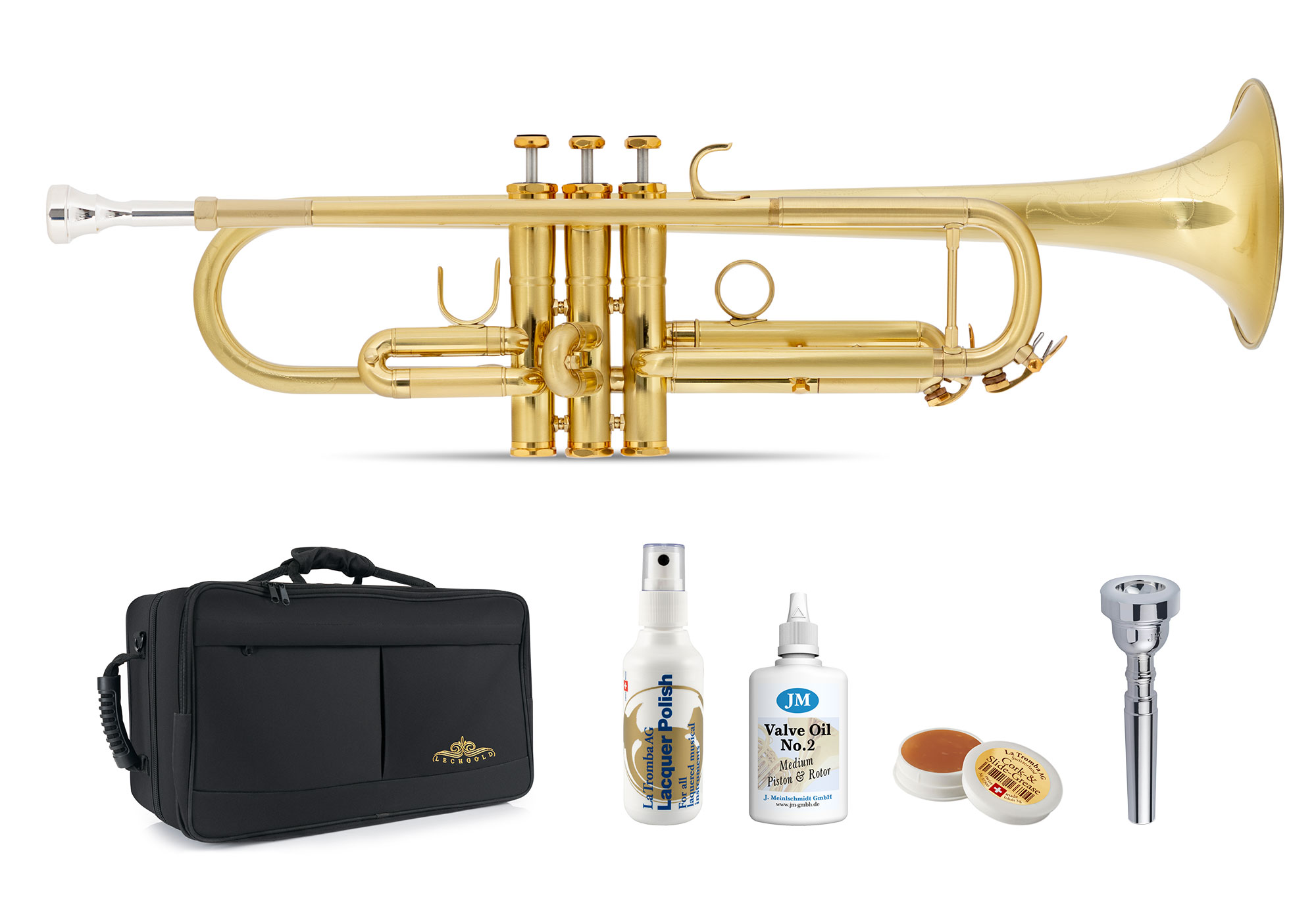 Trompeten - Lechgold TR 16B Bb Trompete gebürstet Deluxe Set - Onlineshop Musikhaus Kirstein