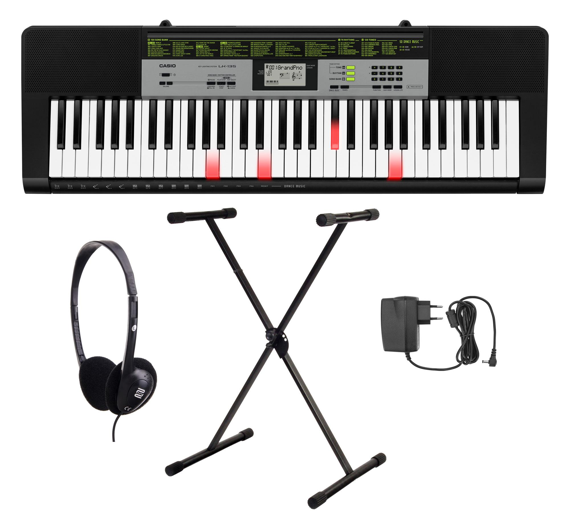 Casio LK 135 Leuchttasten Keyboard Set mit Ständer, Kopfhörer und Netzteil