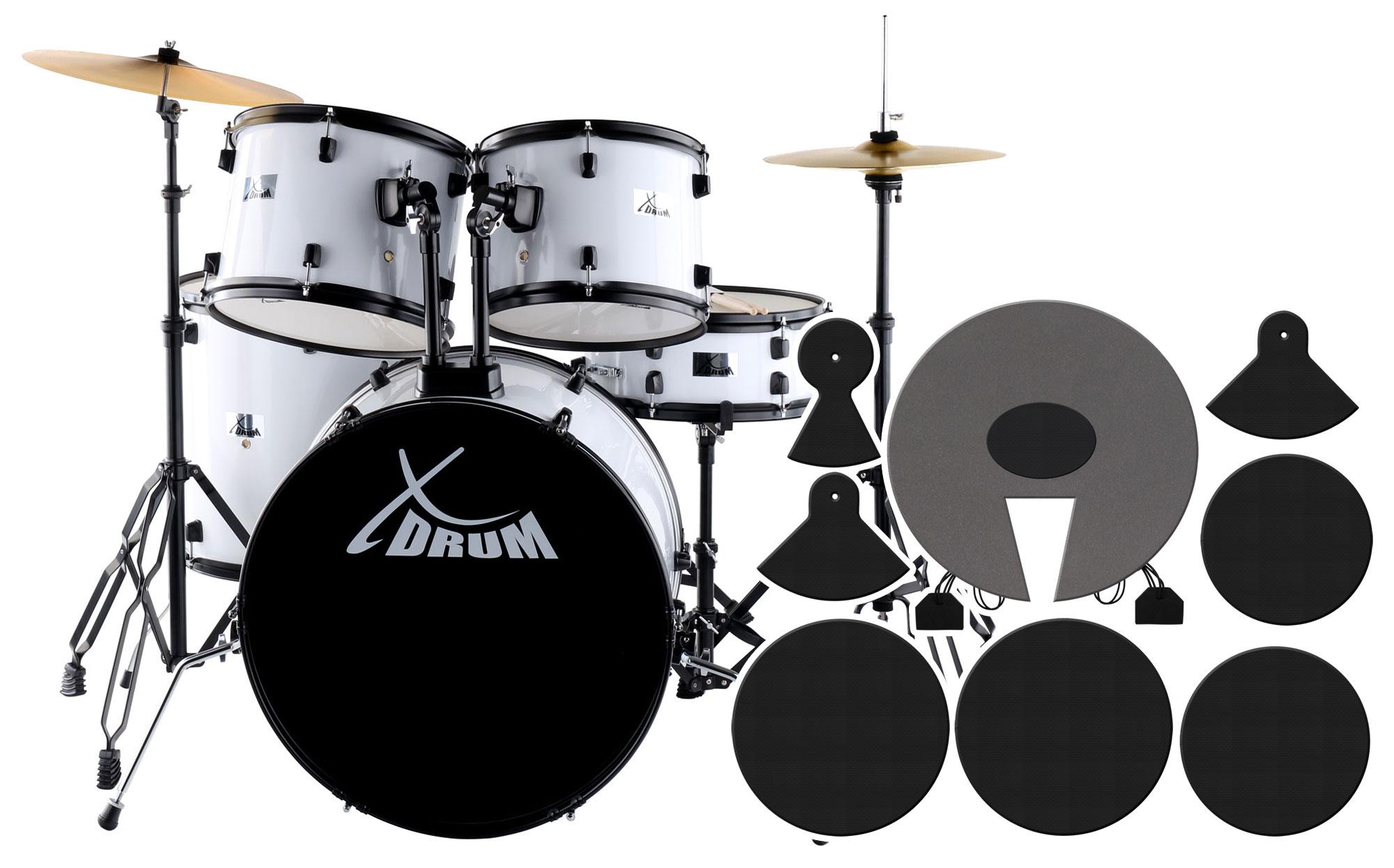 XDrum Rookie 22' Standard Schlagzeug White plus Dämpferset