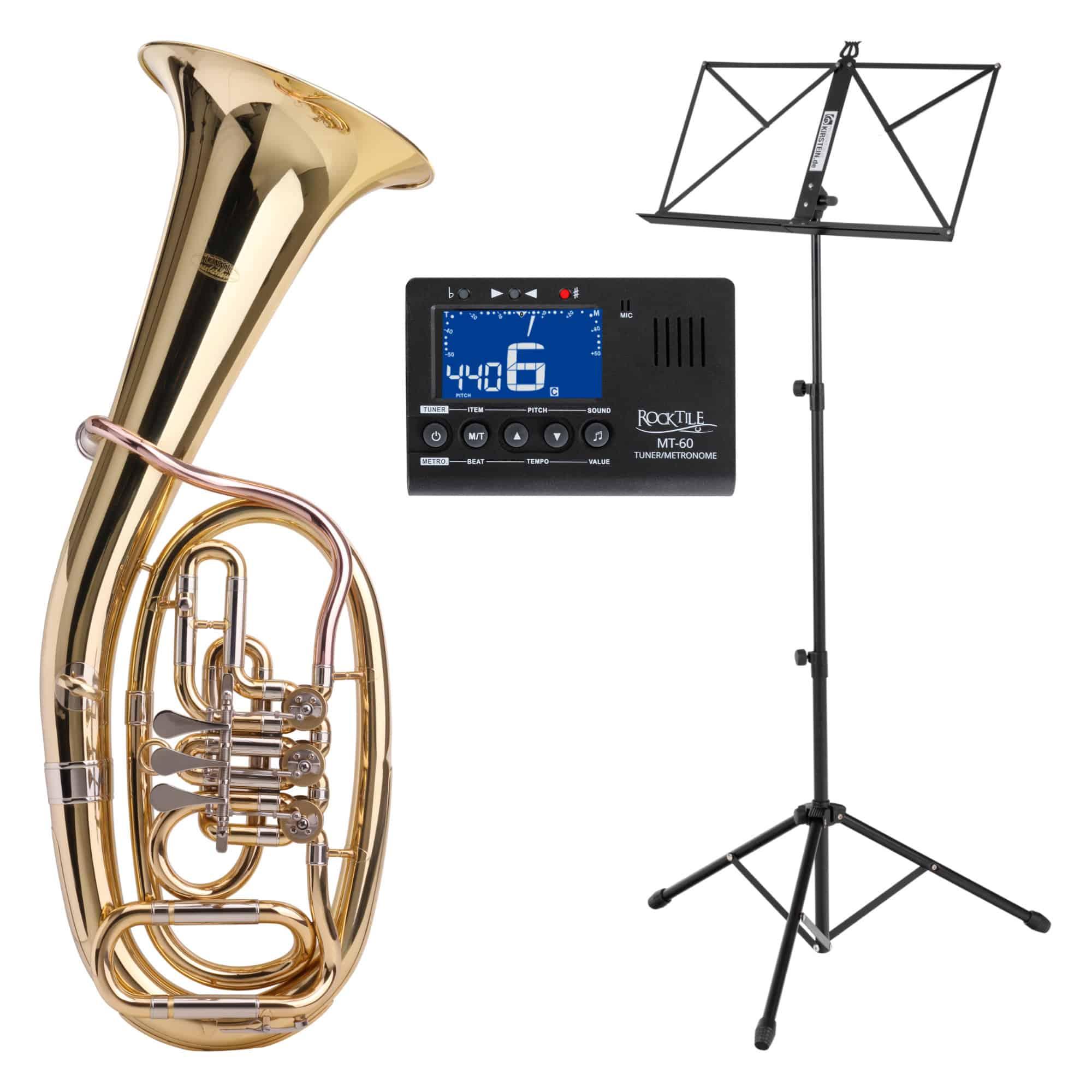 Classic Cantabile TH 38 Tenorhorn SET mit Instrumentenstativ, Stimmgerät|Metronom und Notenständer