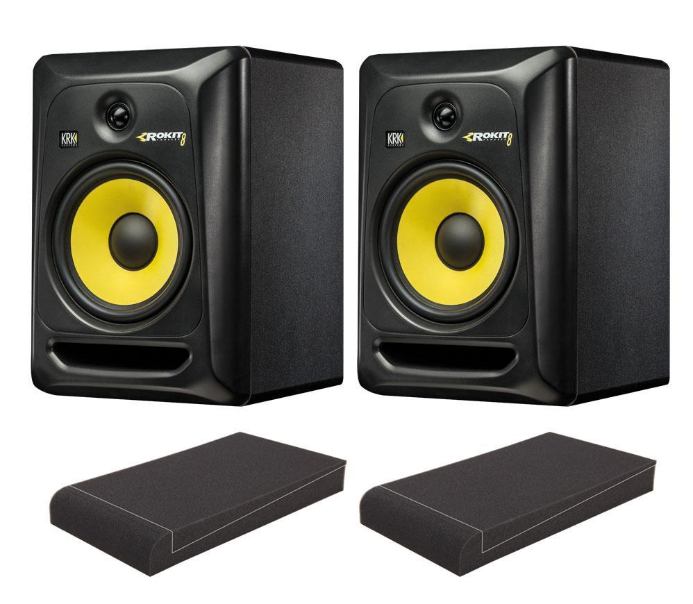 KRK ROKIT RP8 G3 Studio Monitor SET mit Pronomic ISO Stand 7' Absorberplatten
